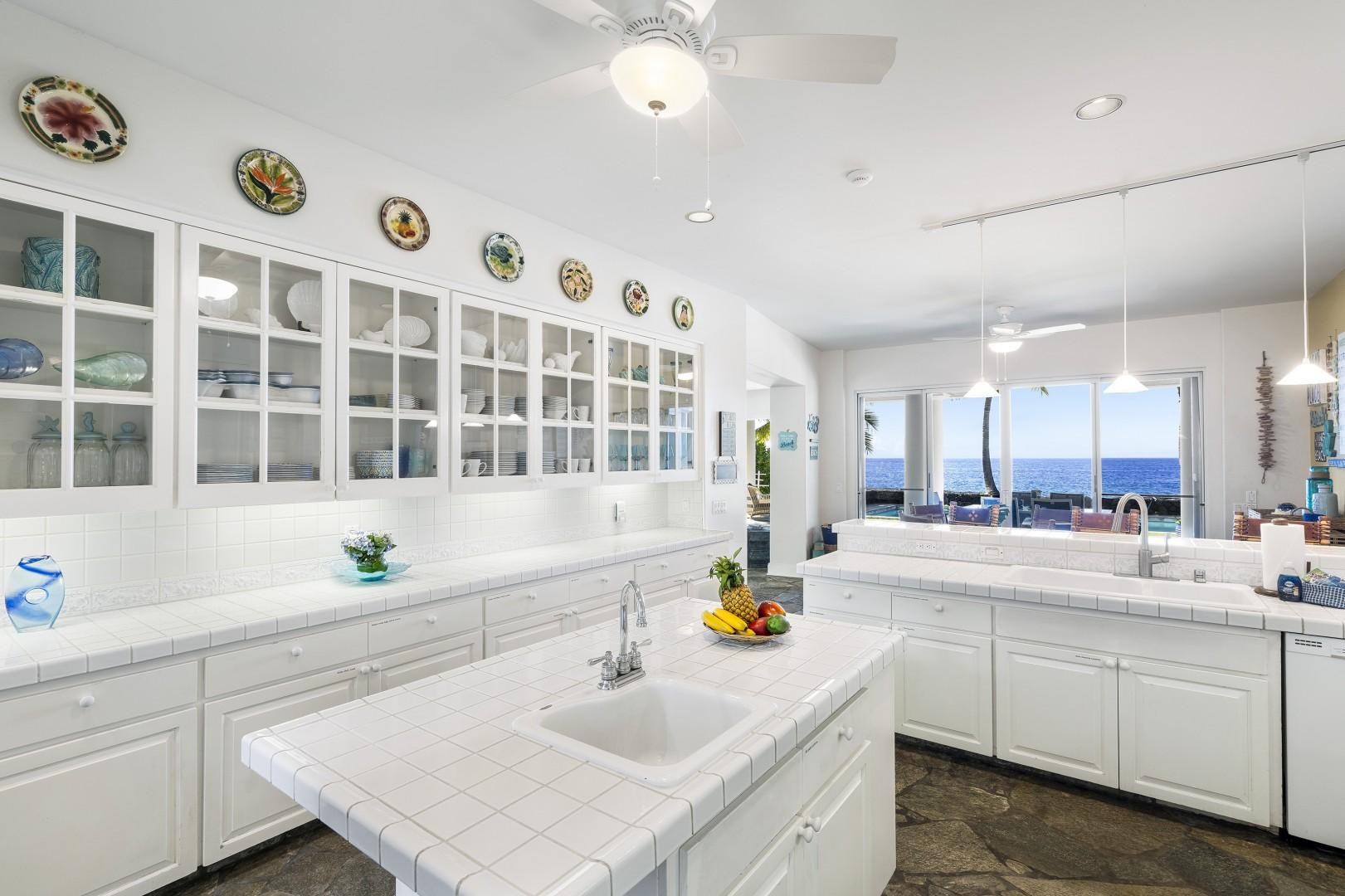 Dual sinks both with an Ocean view!