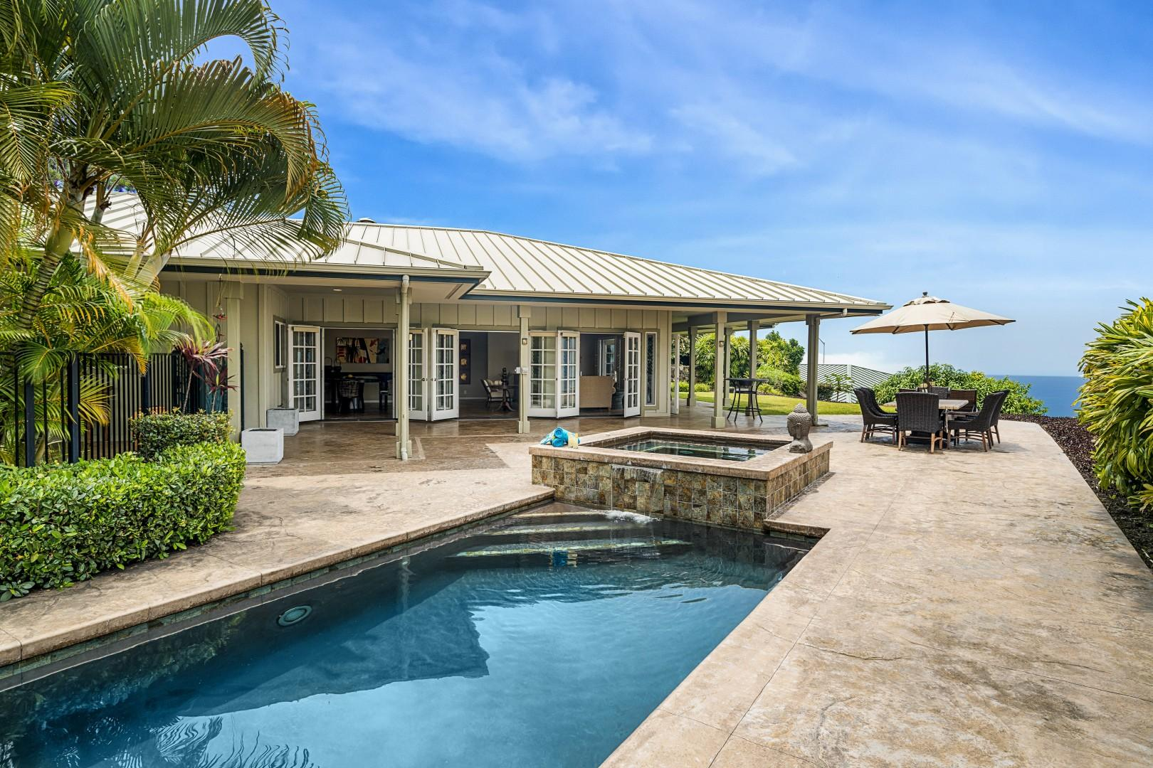 Enjoy the private pool and large Lanai with the Ocean in the distance!