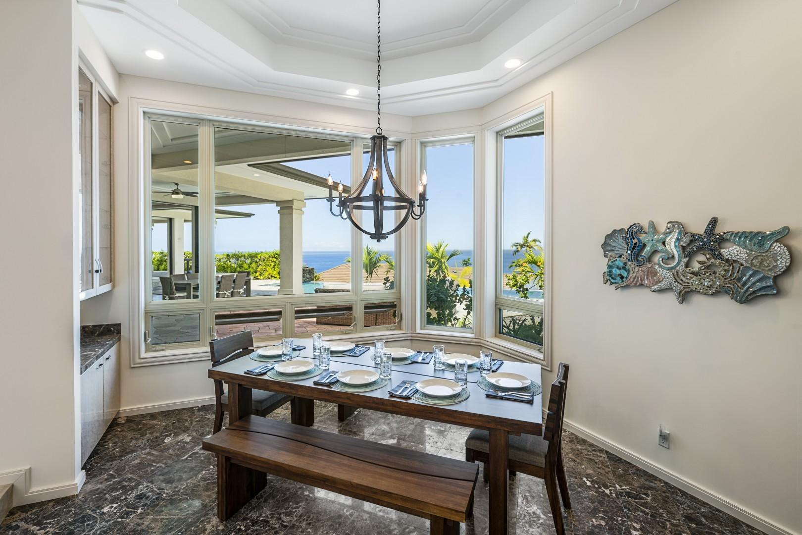 Indoor dining for 8 with a spectacular ocean view!