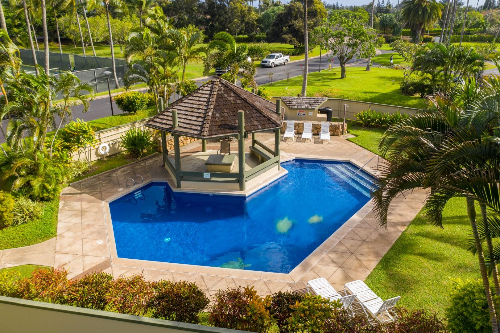 Guests enjoy shared pool access