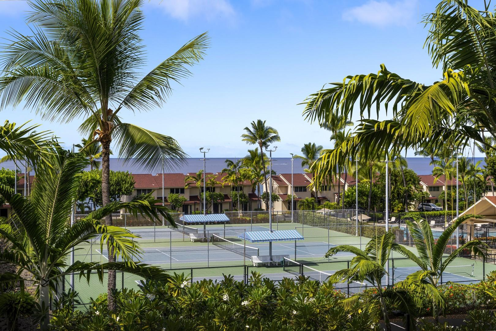 Overlooking the tennis courts from the condos Lanai