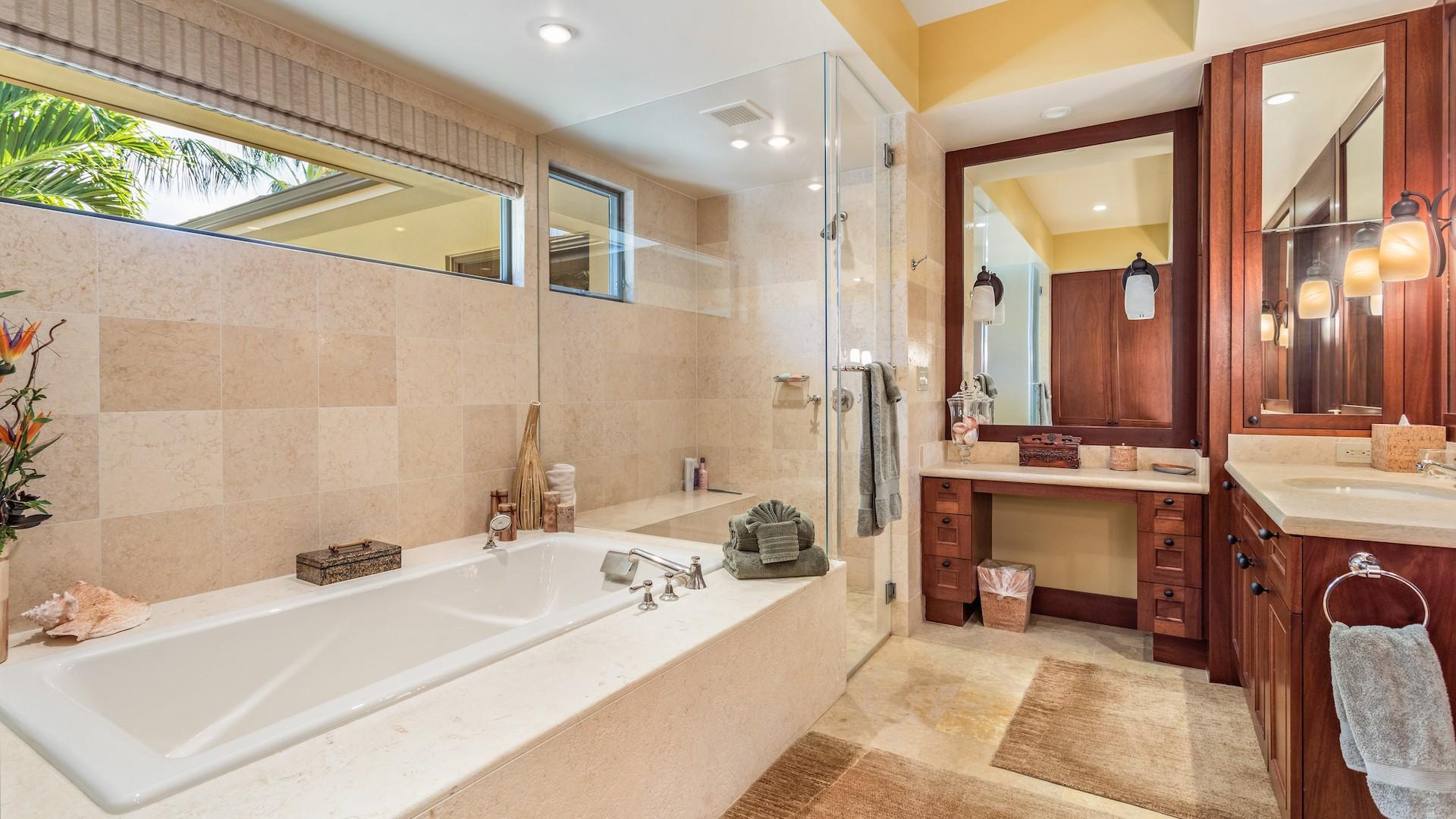 Master Bath with Soaking Tub, Walk-In Shower, Privacy Commode & Dual Vanity.