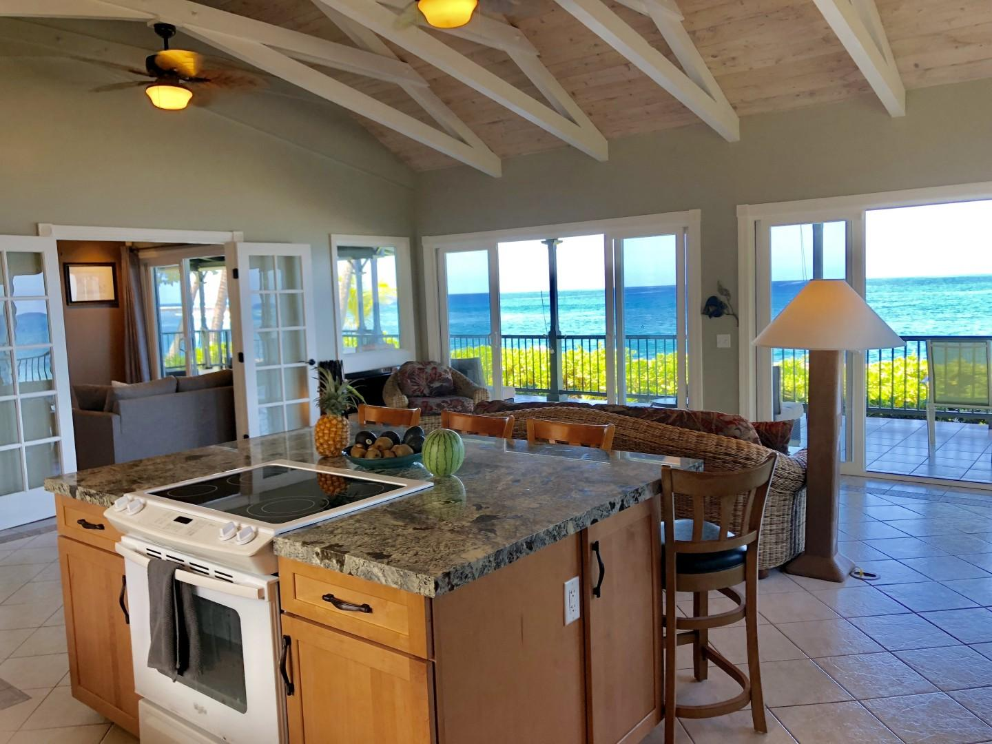 Newly remodeled kitchen with Ocean View