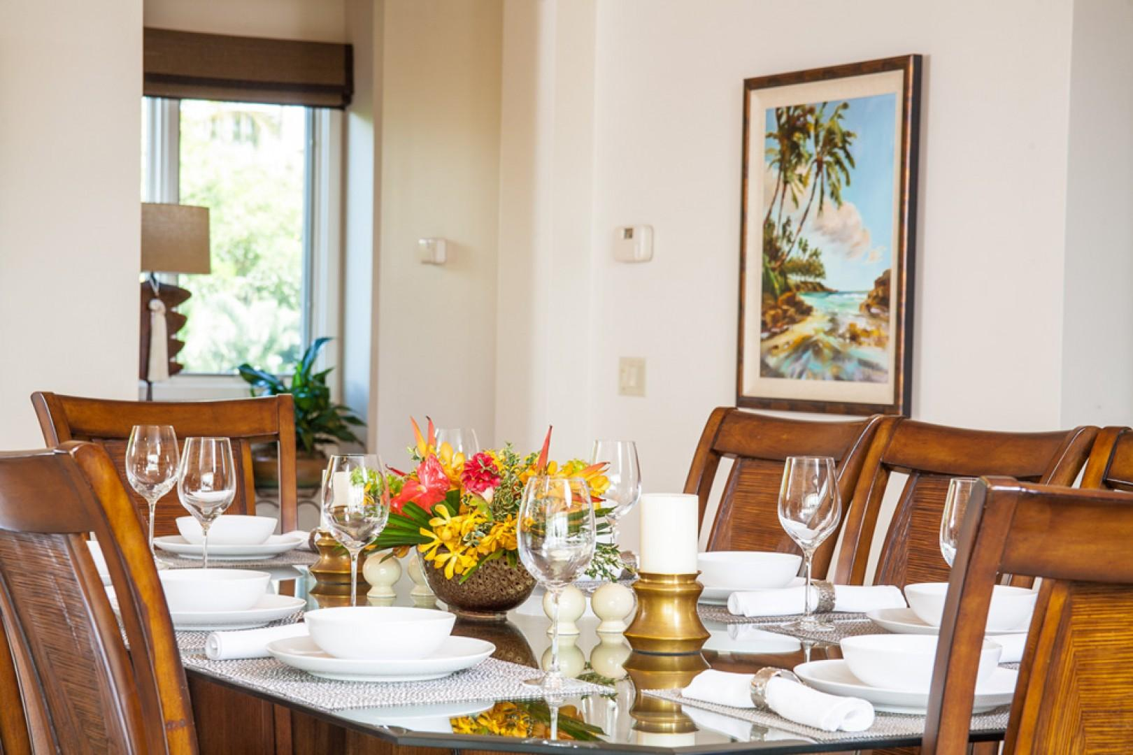 K308 Indoor Dining for Eight, Original and Giclee Art by Maui's Premiere Artists, Capiz Shell Accents, Elegant Upscale Tropical Living