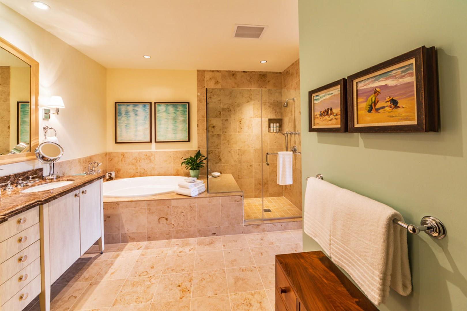 K507 Wailea Seashore Suite - Master Bedroom En-Suite Bathroom with Deep Soaking Tub, Glass Shower, Private WC, Dual Vanities, Walk-In Closet, Hair Dryers, Scale, Make Up Mirrors, Plush Cotton Bathrobes, Toiletries, Abundant Fluffy Towels, and more