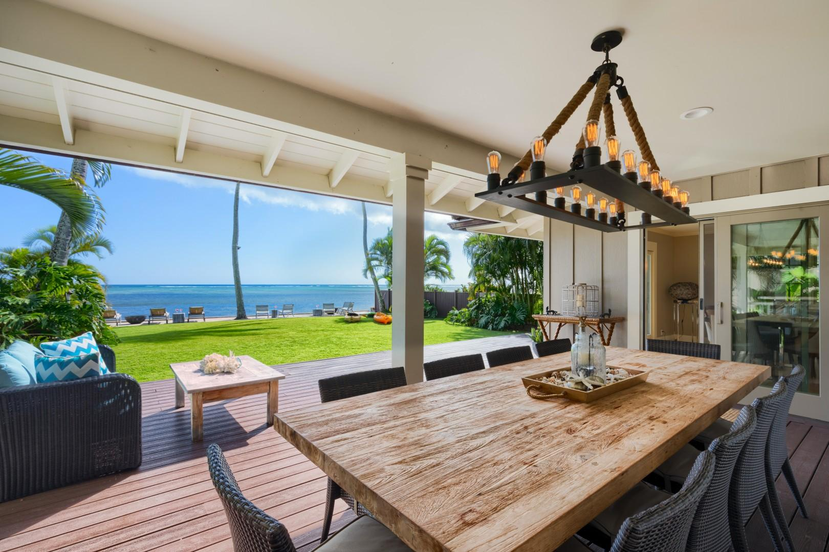 Relax, BBQ and indulge your senses under your covered lanai in the back yard.
