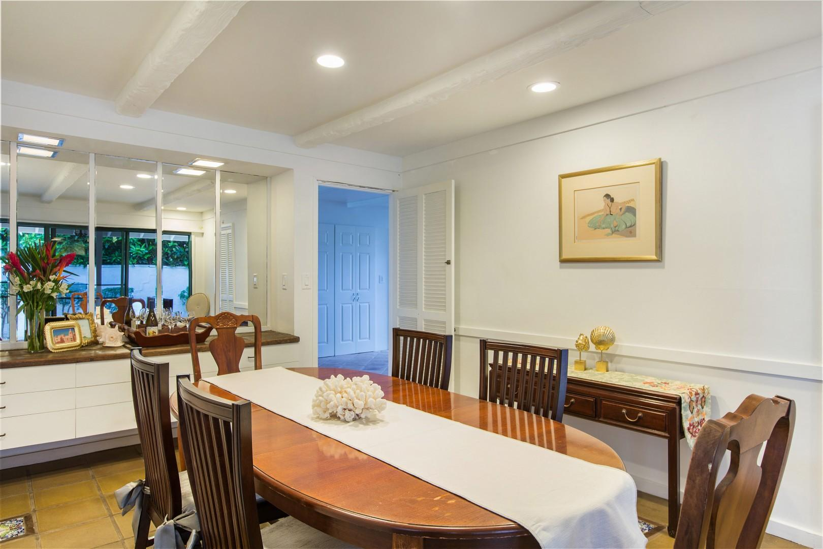 Enjoy dinners in the semi- formal dining room, next to the kitchen and sitting room.
