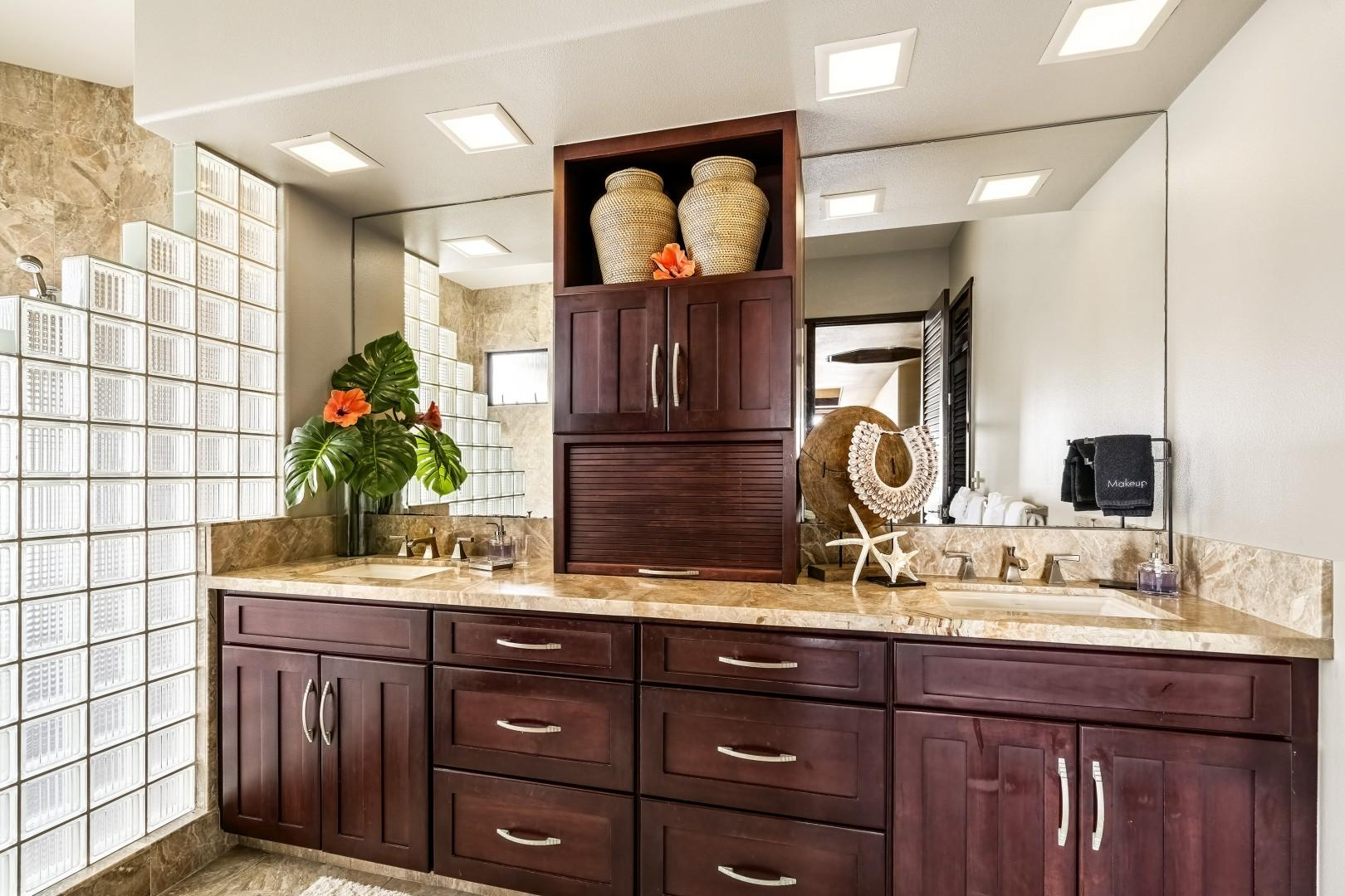 Master bathroom equipped with dual vanities