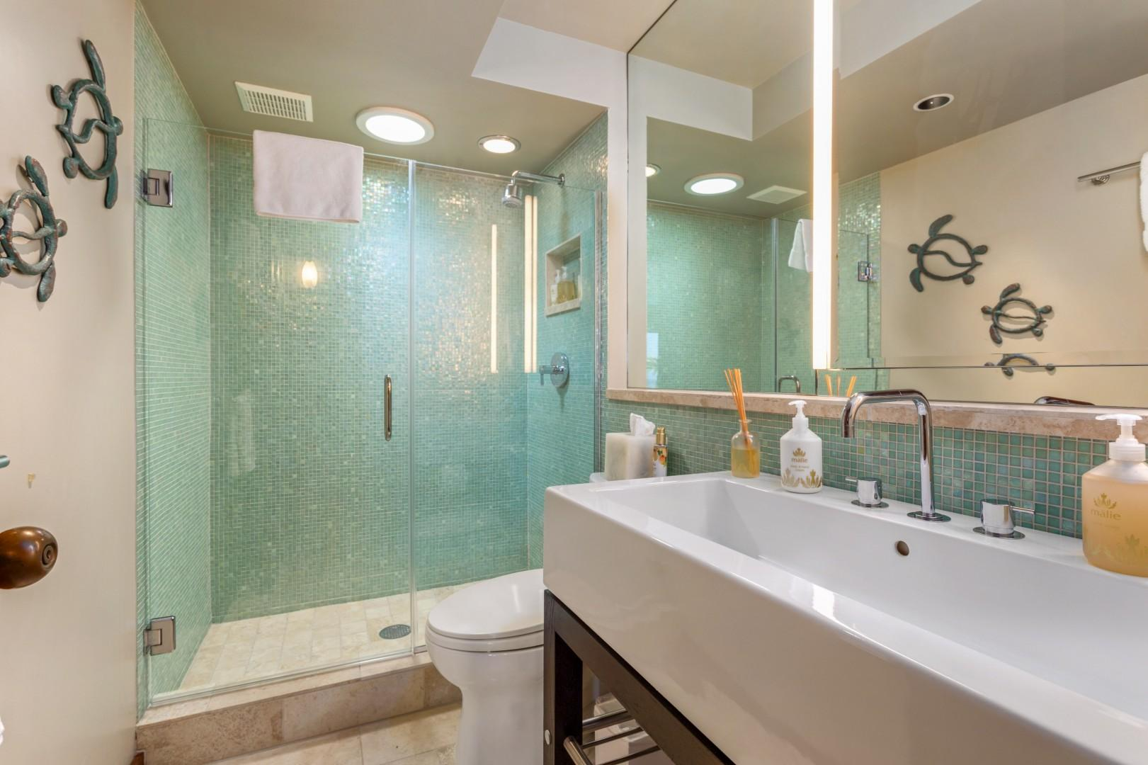 Second Bathroom w/Wide & Deep Sink, Walk-in Shower & Beautiful Tiling.