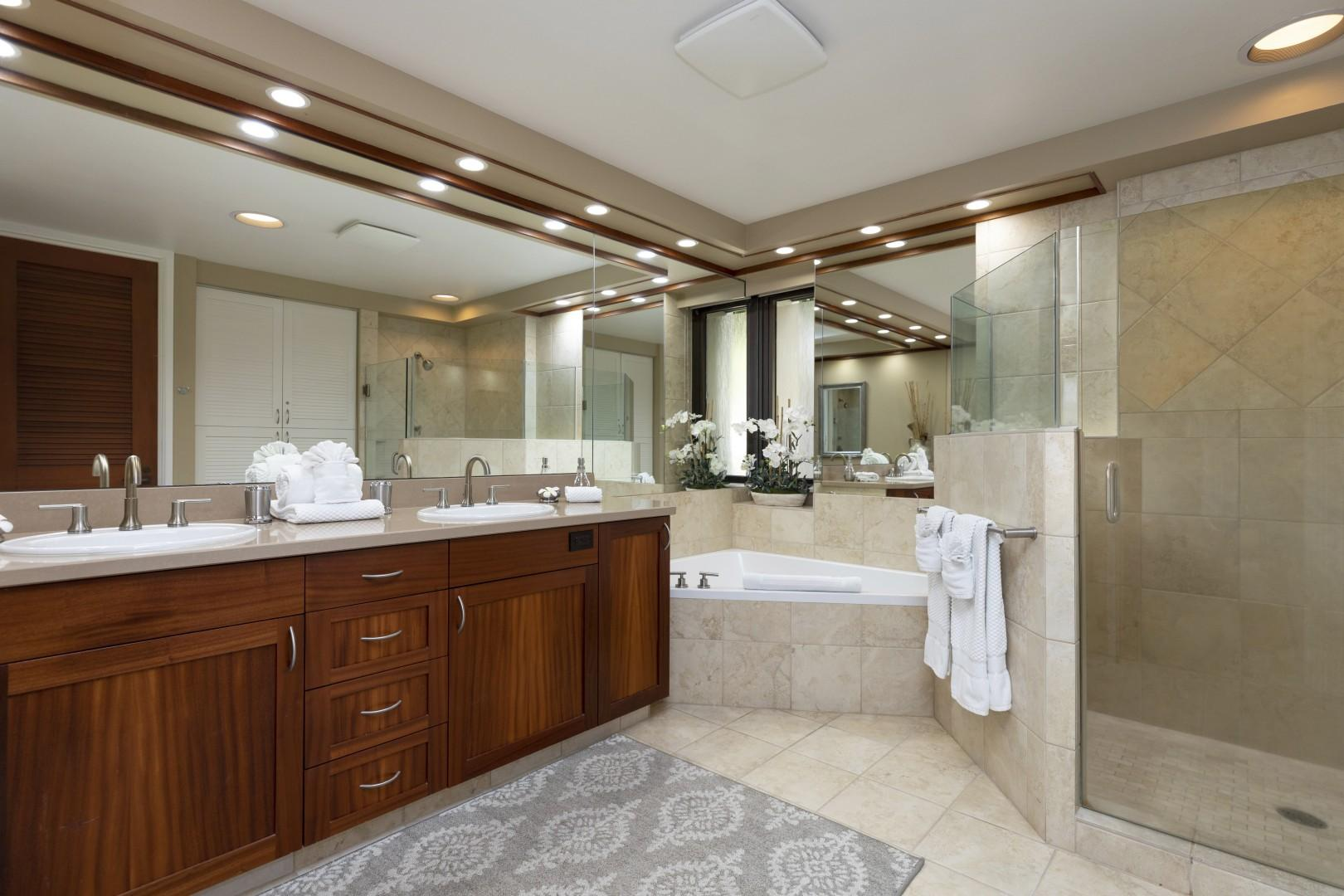 There is also a large soaking tub to enjoy.