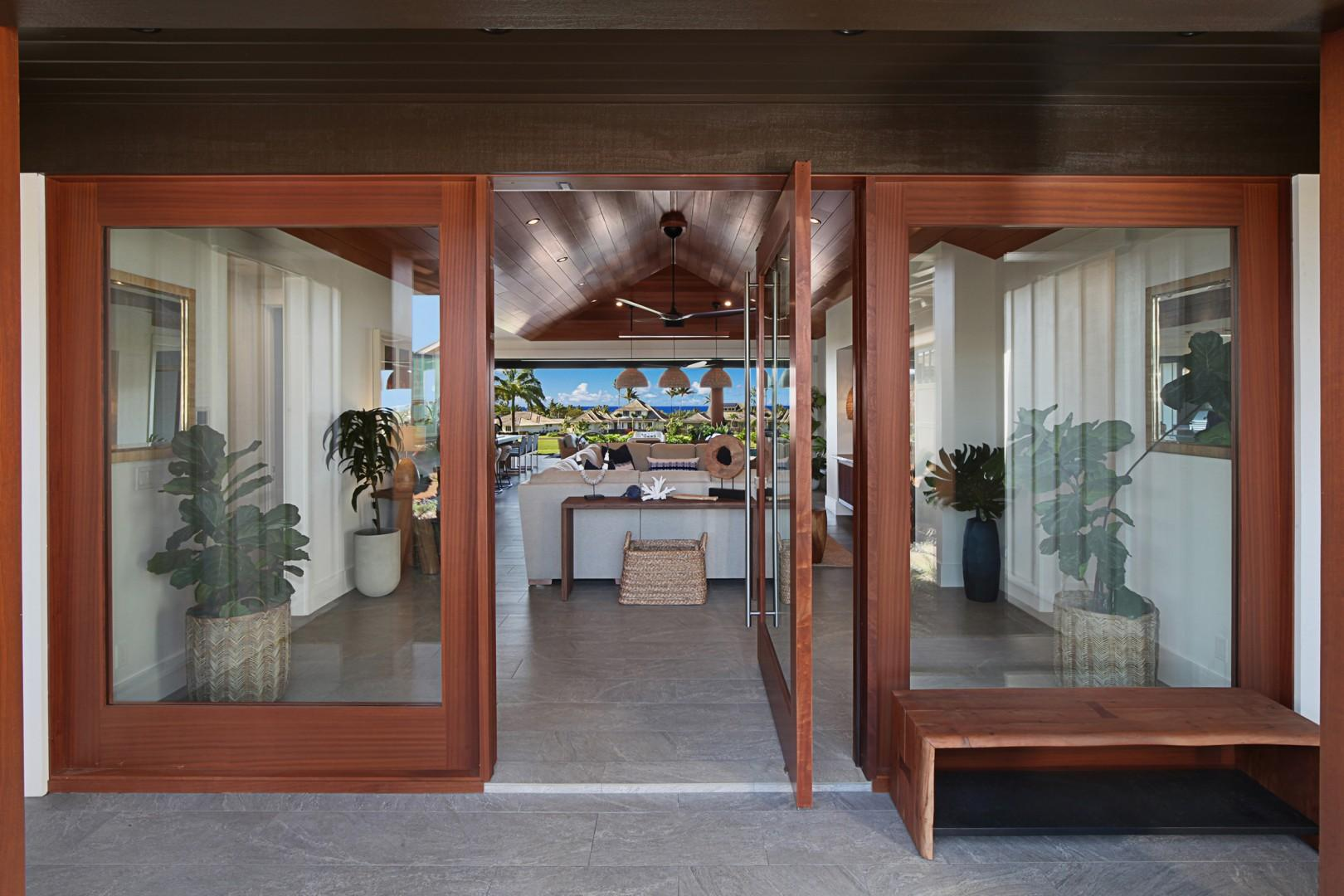 Entrance with beautiful pivot door and amazing views