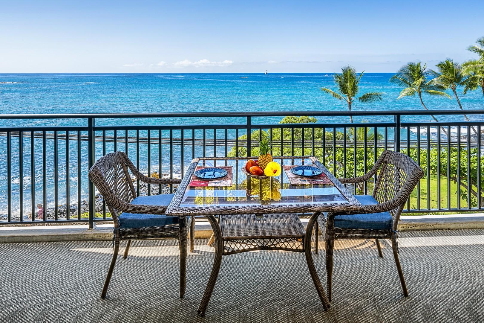 Outdoor dining on the Lanai overlooking the beautiful Kona coast