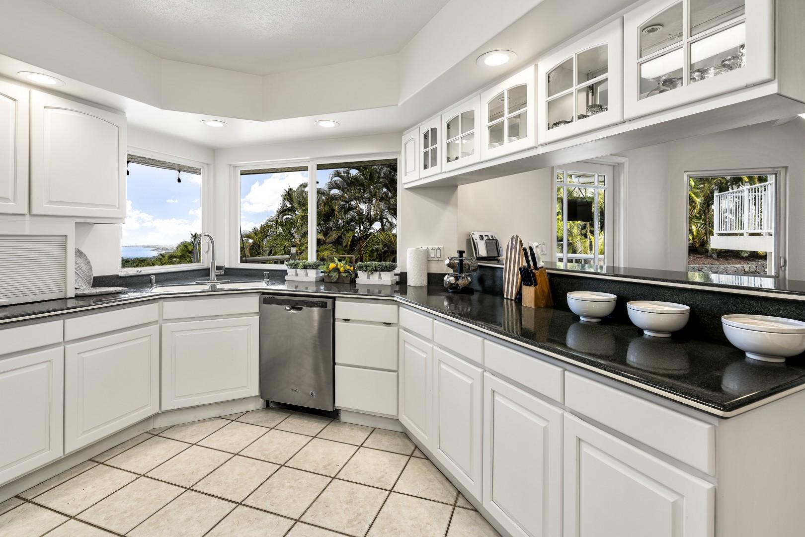 Fully equipped kitchen large enough for guests to assist in meal preparation!