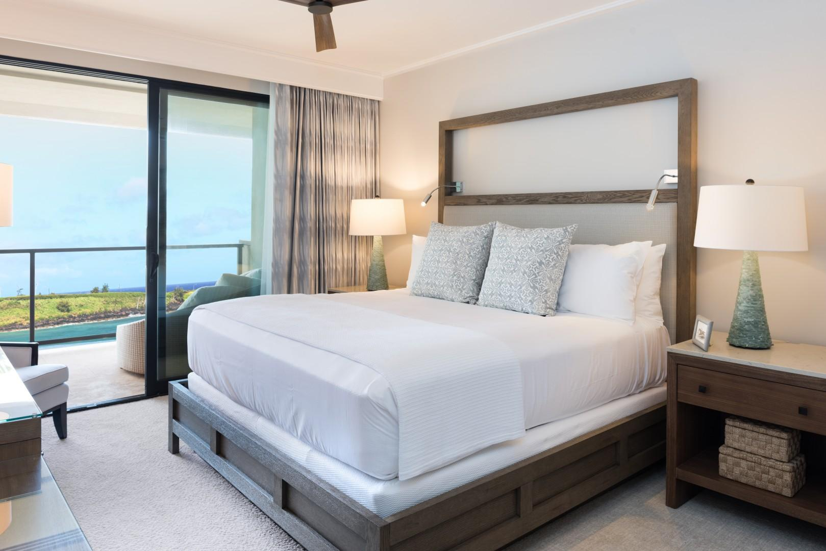 Spacious, luxurious bedrooms feature stunning ocean views.