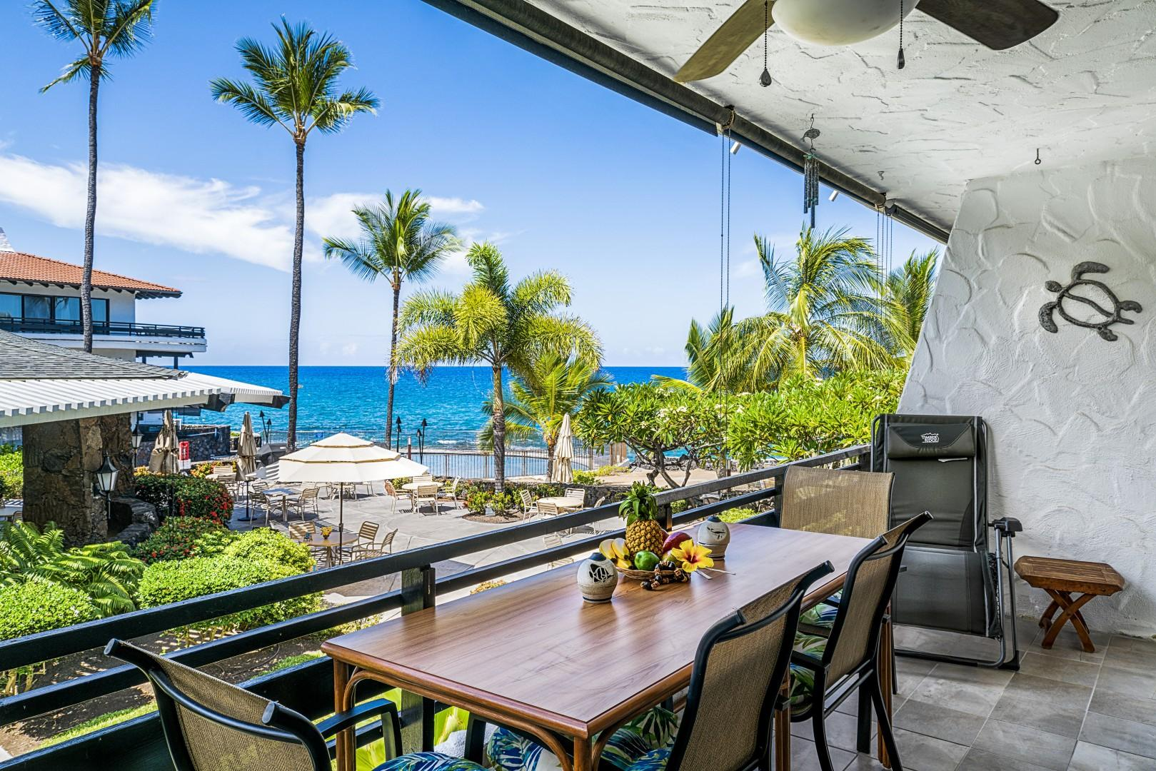 Spacious Lanai with breathtaking views of the Kona Coast!