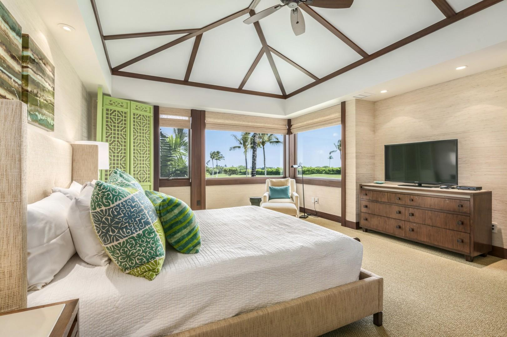 Alternate View of Master Suite Featuring Flat Screen TV and Beautiful View.