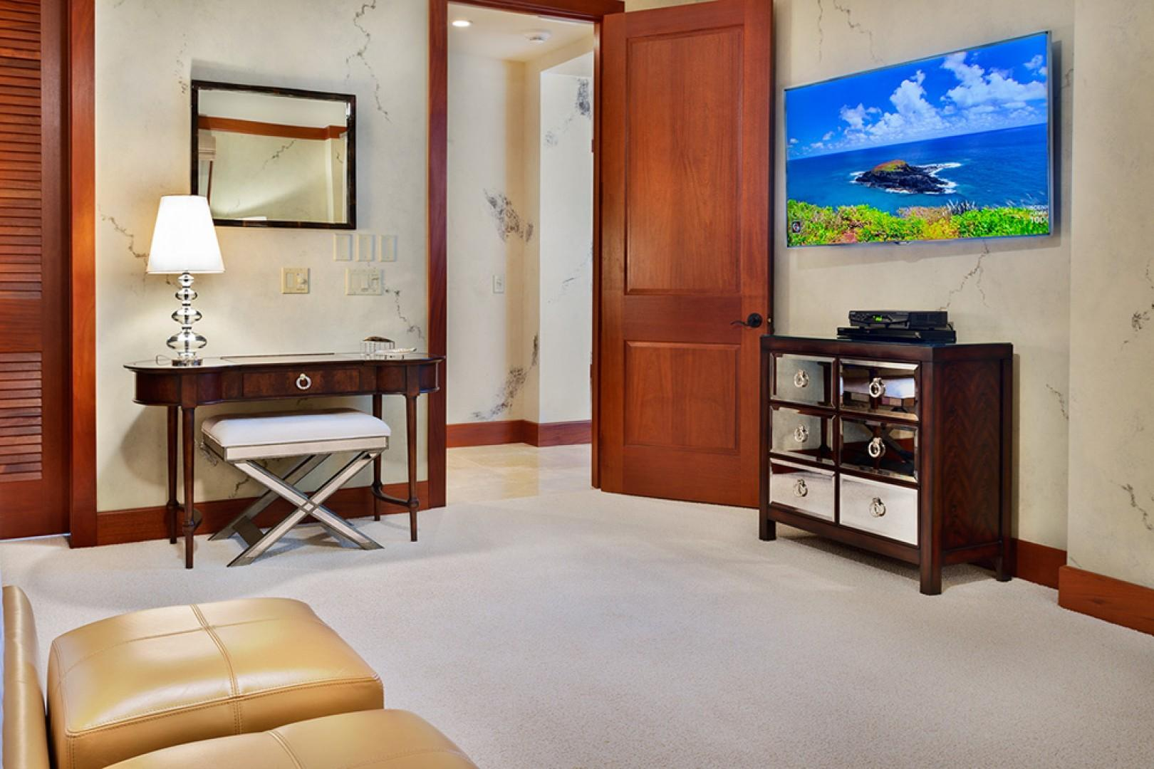 A201 Royal Ilima - The Ocean Front and Beach Front View Master Bedroom Suite with Leather Seating, Vanity, King Bed, Samsung HD Smart TV/DVD and En-Suite Expansive Private Bath with Veranda