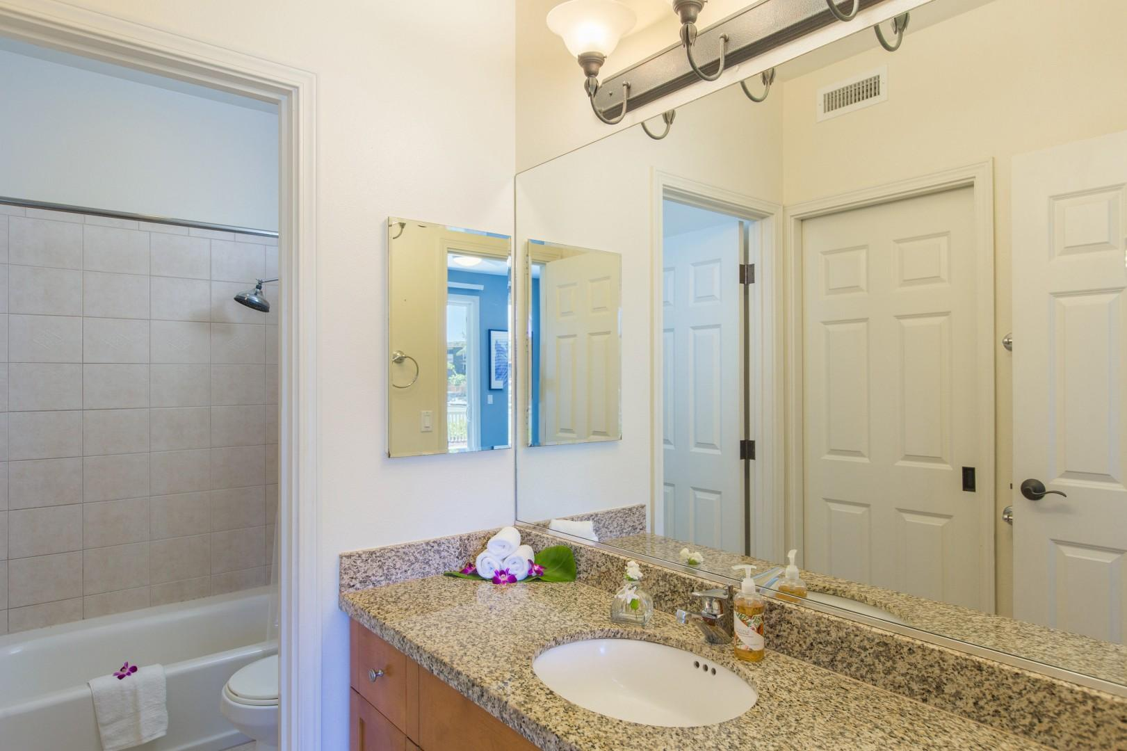 Master en suite bathroom with walk-in closet to the left.