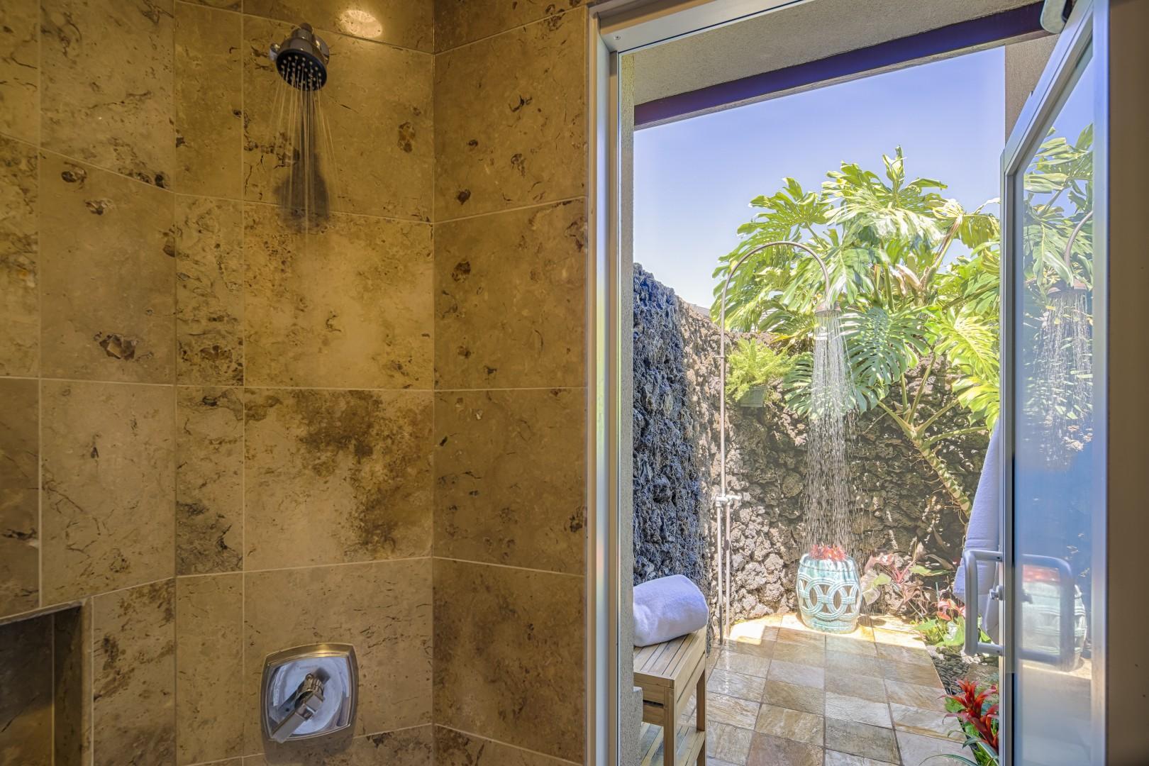 Indoor shower or the outdoor shower?