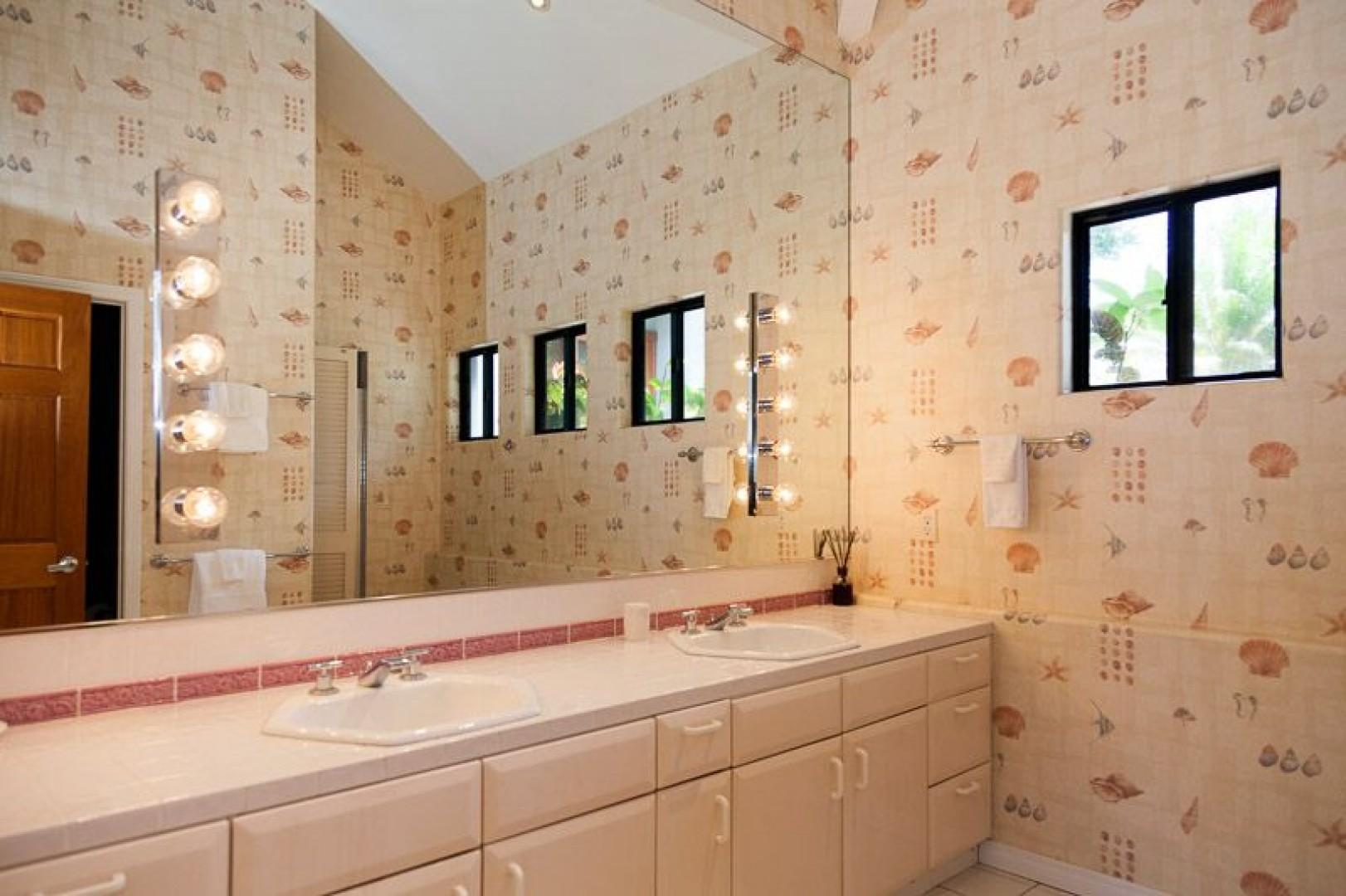 North Master bath with walk in shower and double vanity