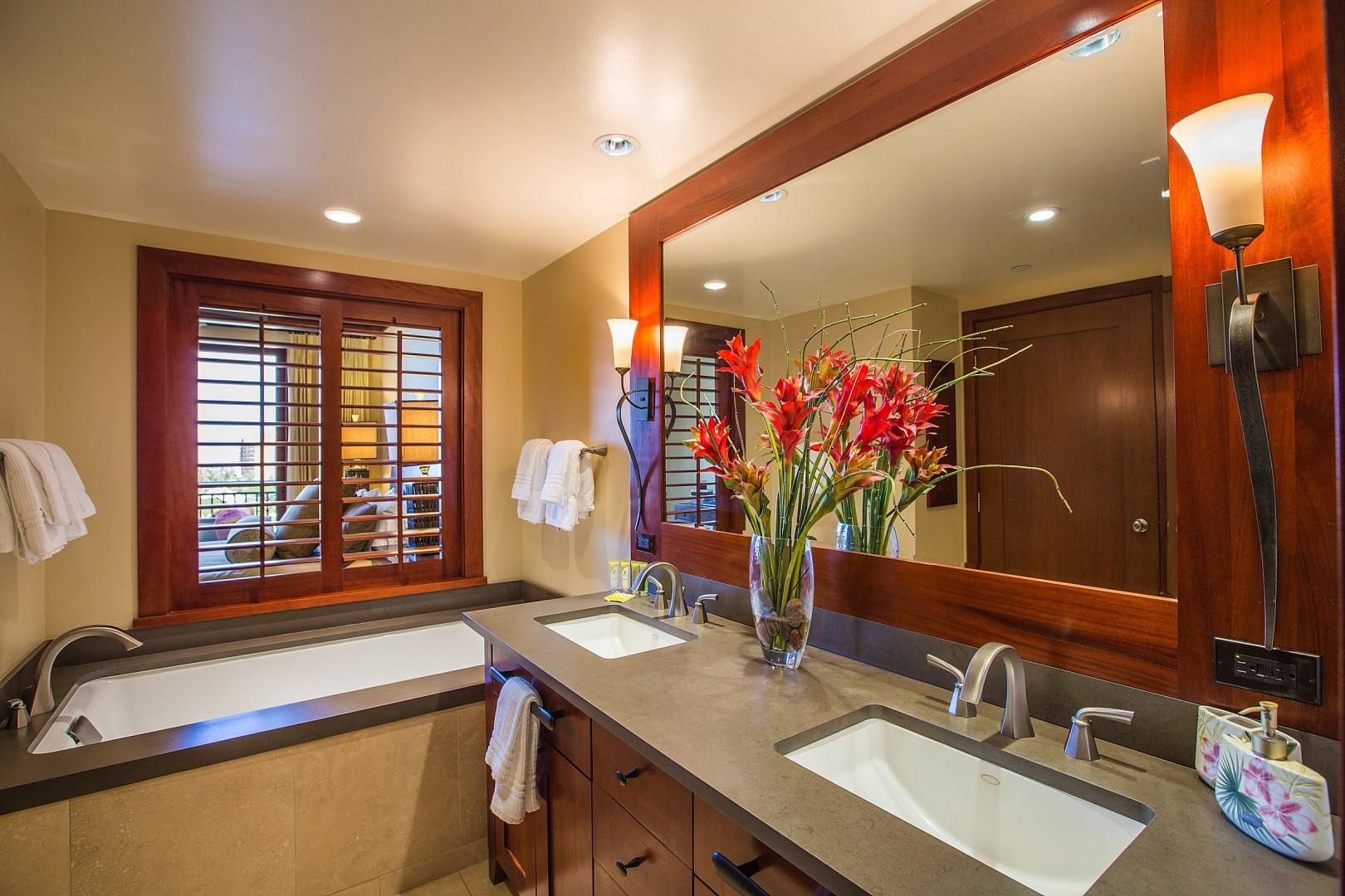 Master bathroom with soaking tub, double sinks and separate shower