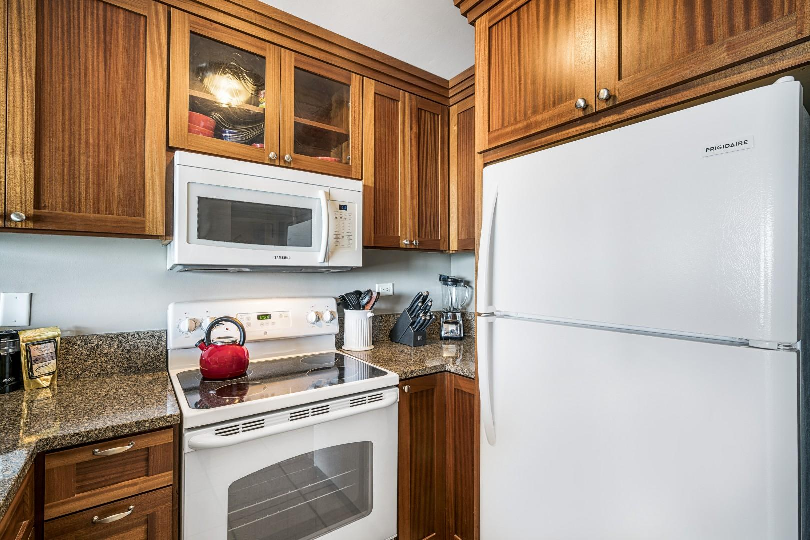Updated appliances, granite counters, and cooking amenities