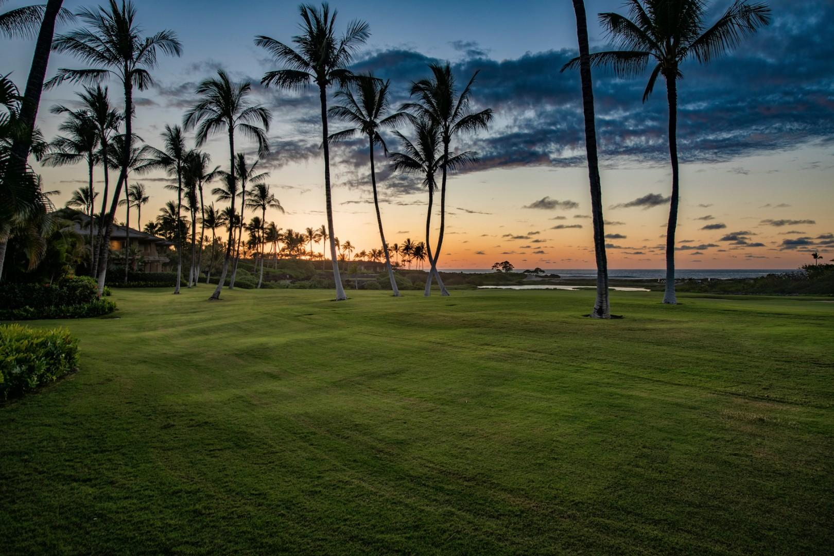 Golf course view from your lanai at sunset.