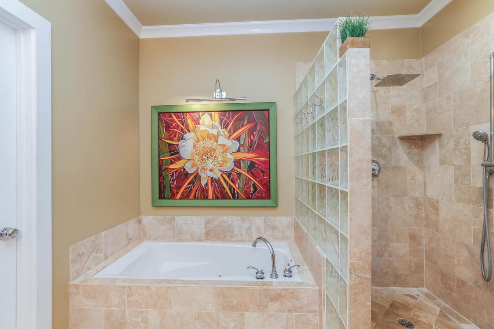Master tub and walk-in shower
