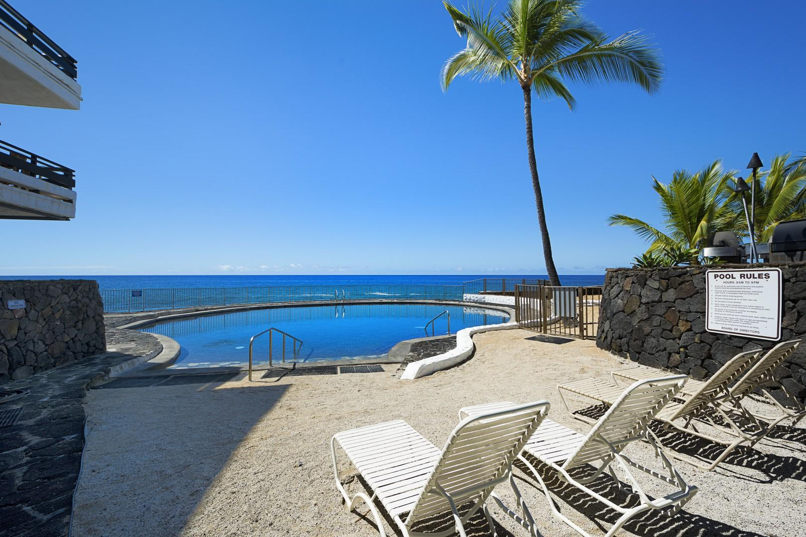 Salt Water Pool with seating nearby
