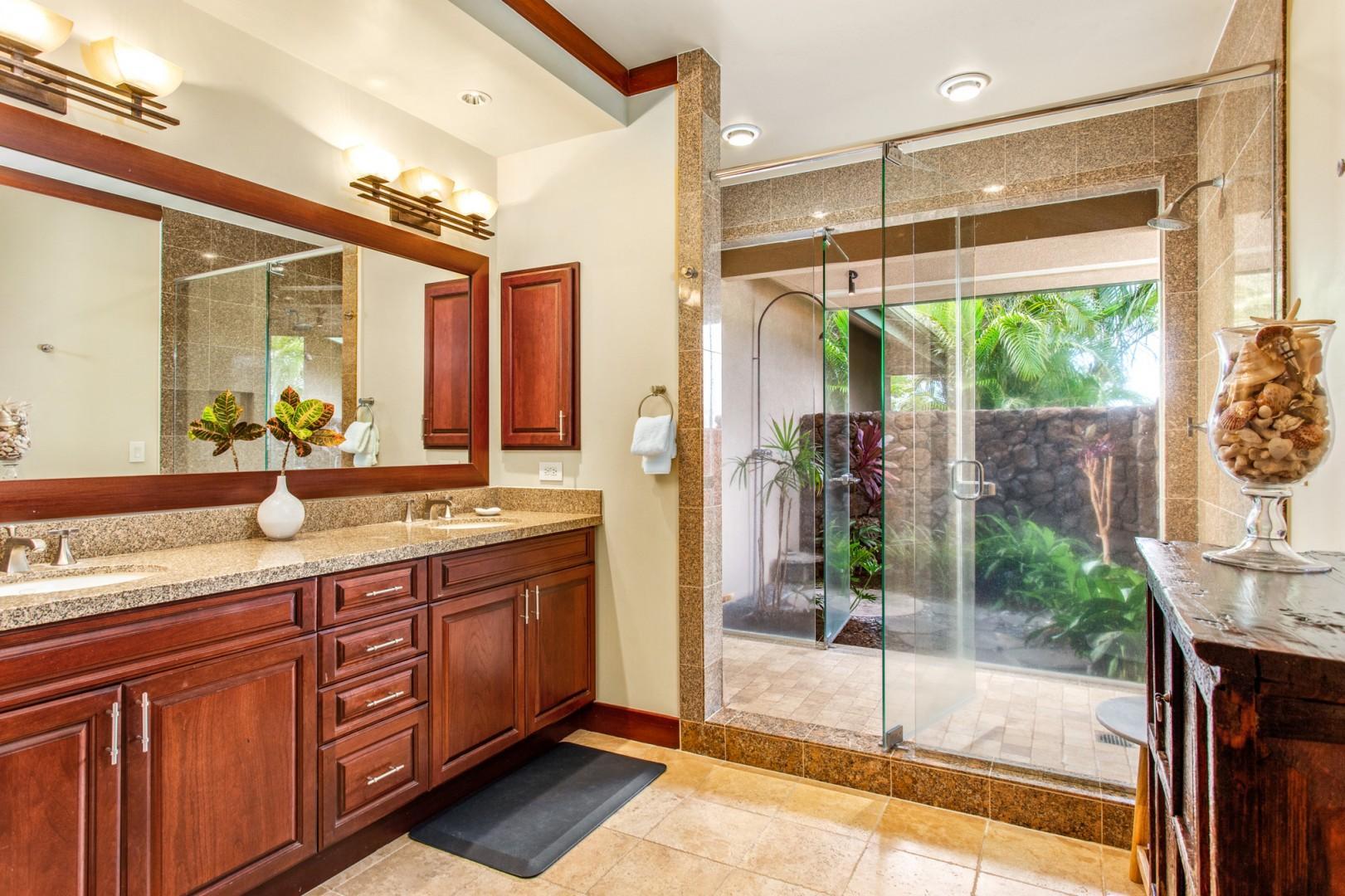 Master bath #1 with dual vanities, glass enclosed indoor shower + outdoor shower garden, a tropical treat!