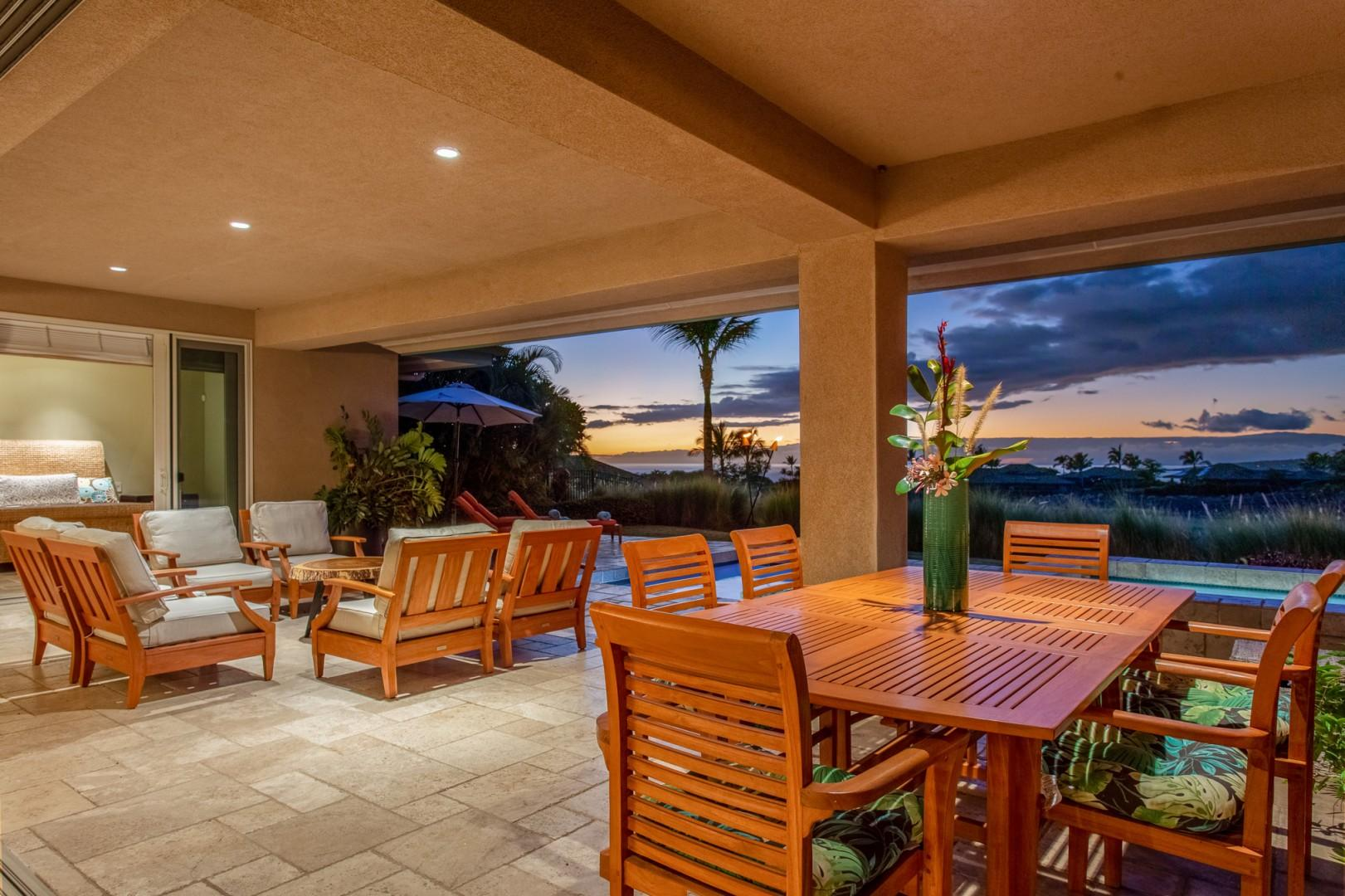Enjoy open air dining and lounging surrounded by stunning year round sunset views.