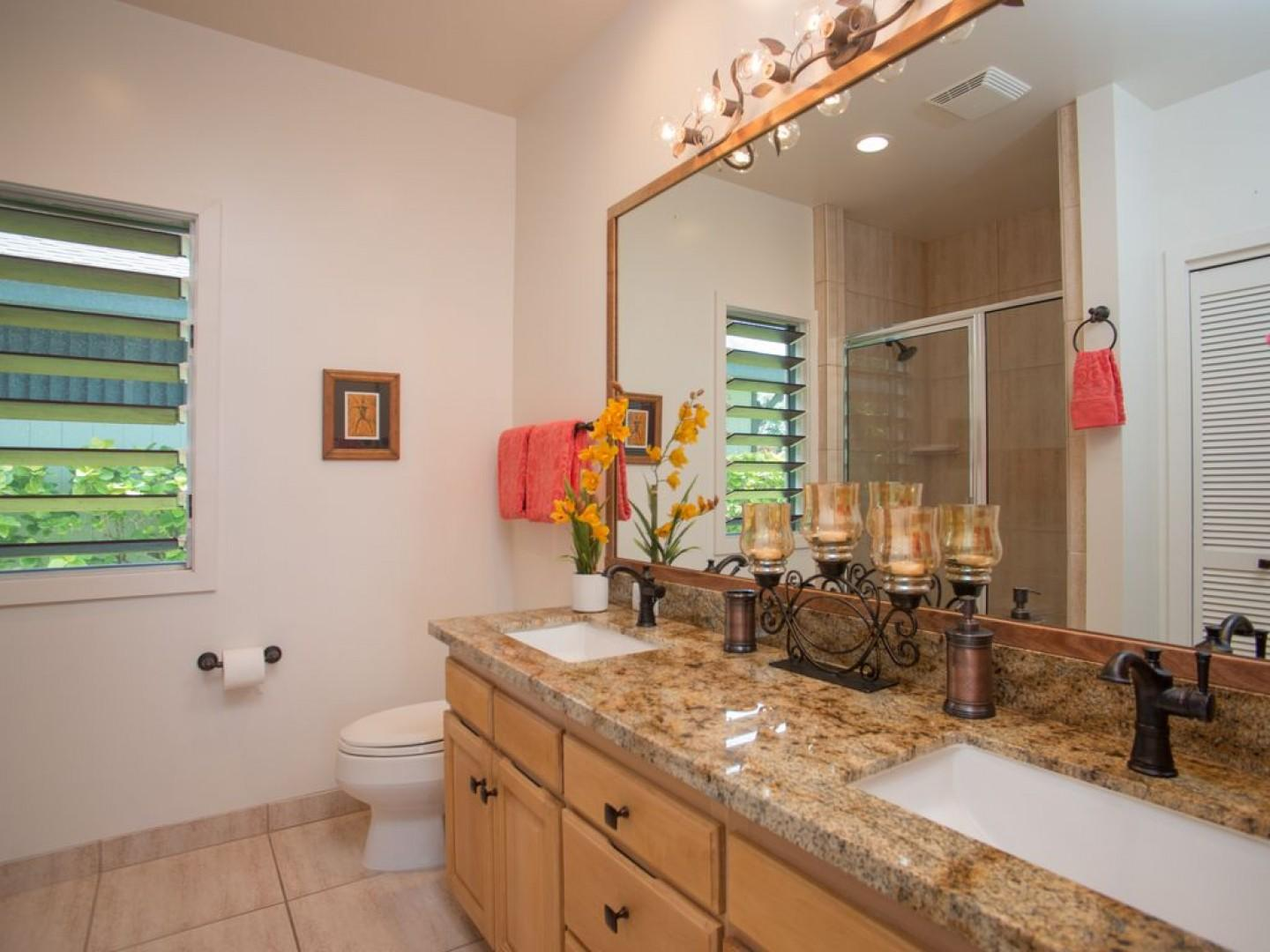 Master bathroom, featuring granite counters and resort like touc