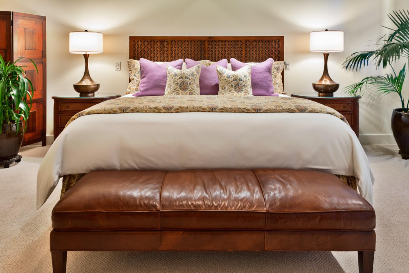 King bed in master bedroom.