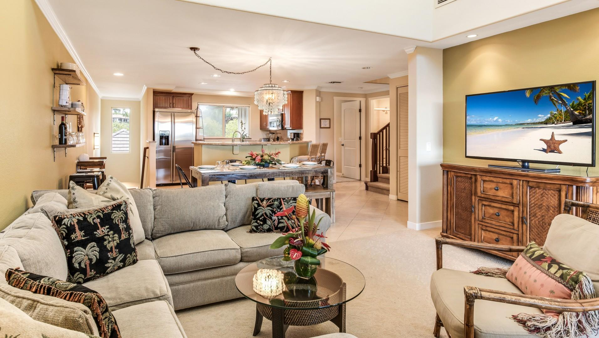 Open Floor Plan Encompassing Living Room, Dining for Seven and Kitchen w/ Bar