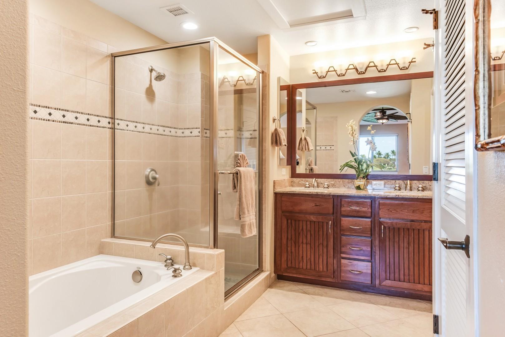 Beautiful Master Bath w/ Large Glass Shower, Soaking Tub, Dual Sinks, Separate WC & Walk-In Closet