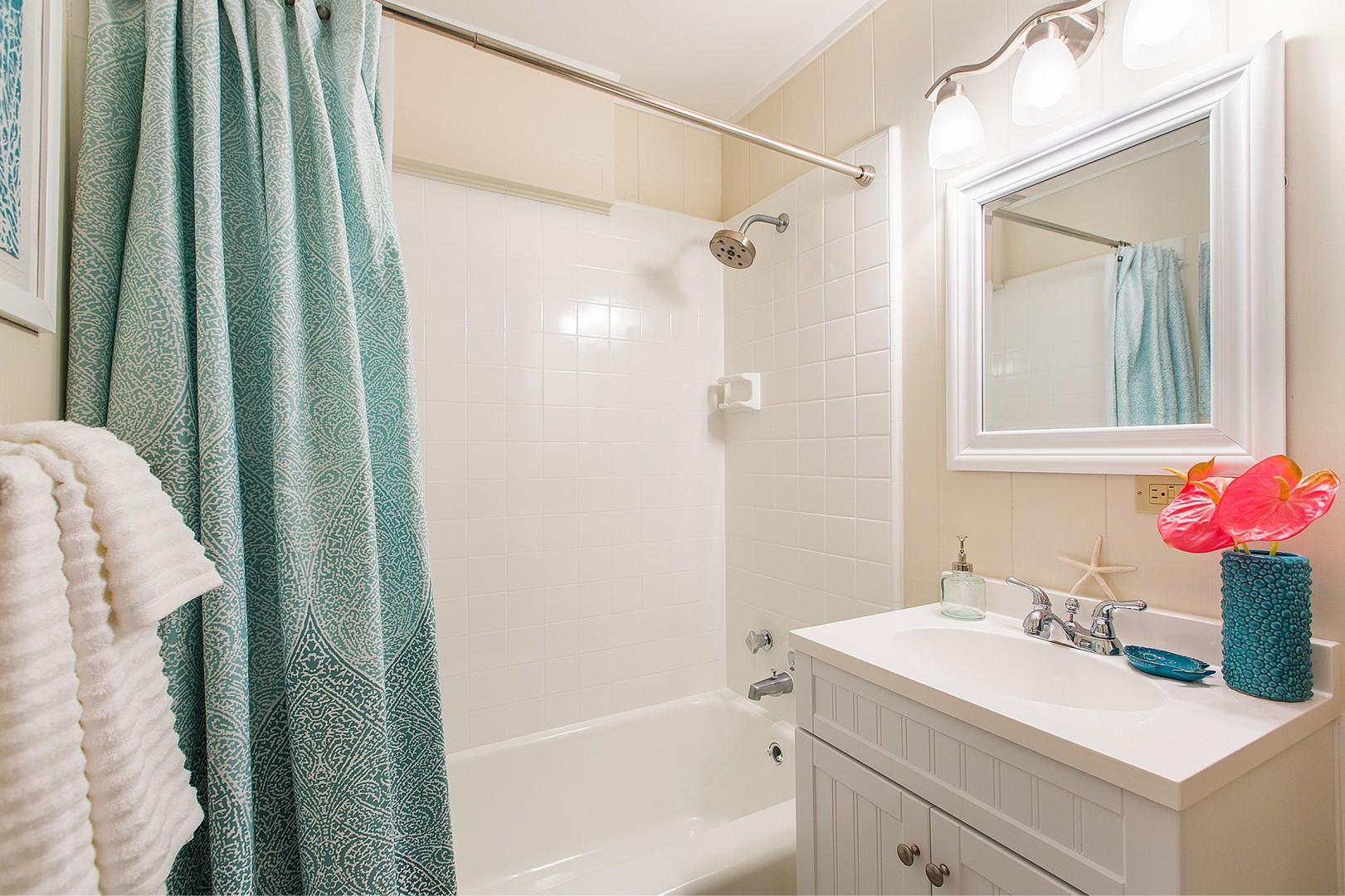 Hall bathroom for master and twin bedroom.