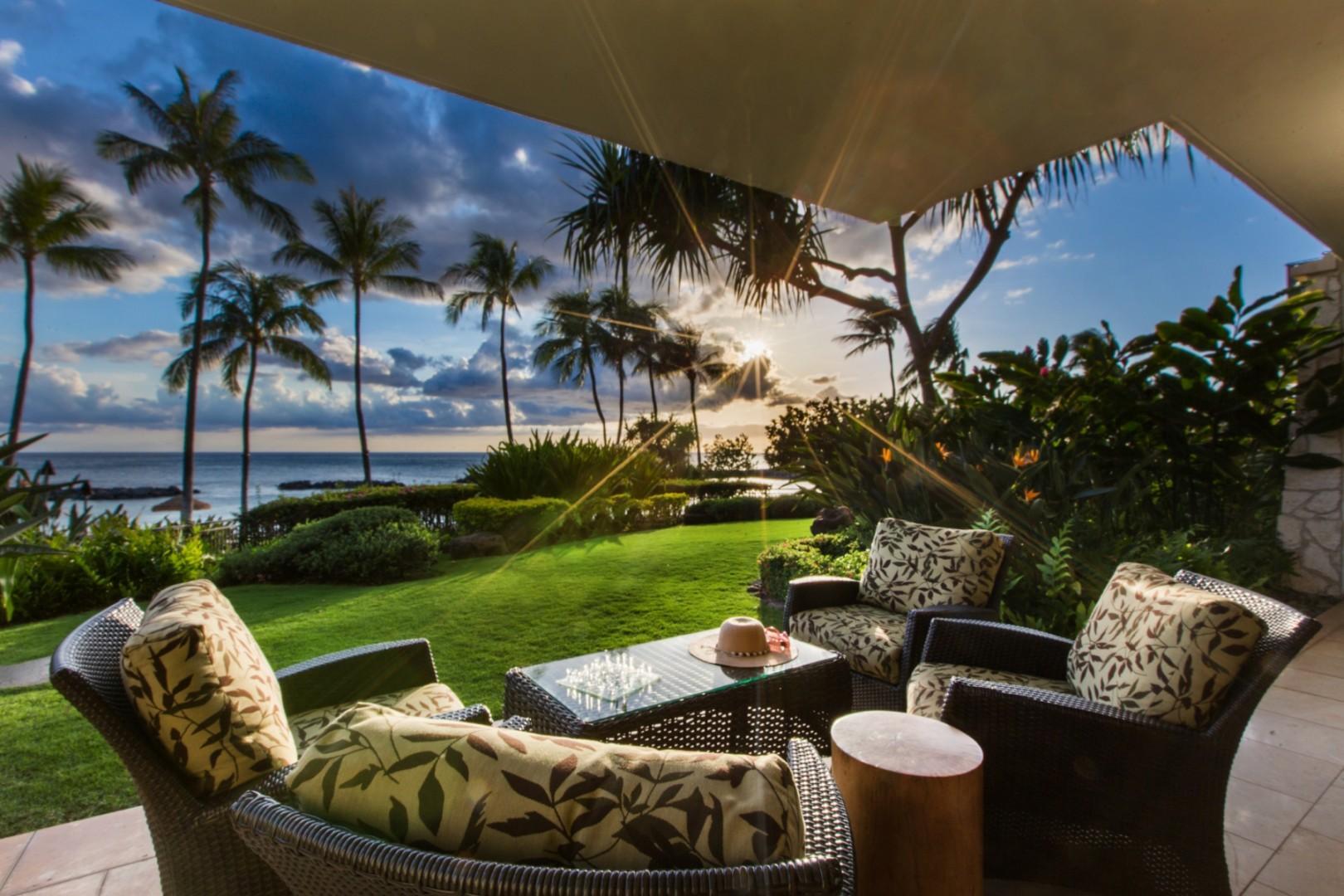 Enjoy sunset and ocean views from this ground floor beachfront lanai overlooking Ko Olina Lagoon 2