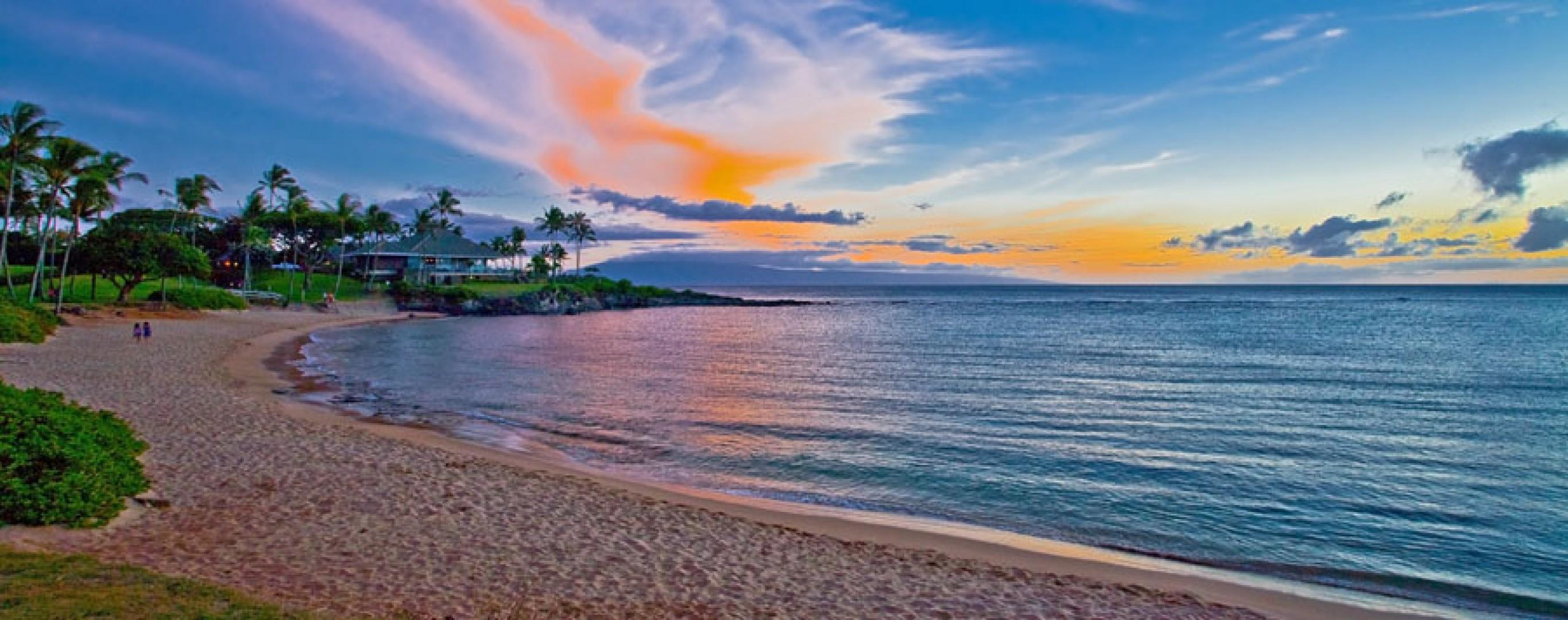 Amazing Sunsets Over Nearby Merriman`s Restaurant and Kapalua Bay