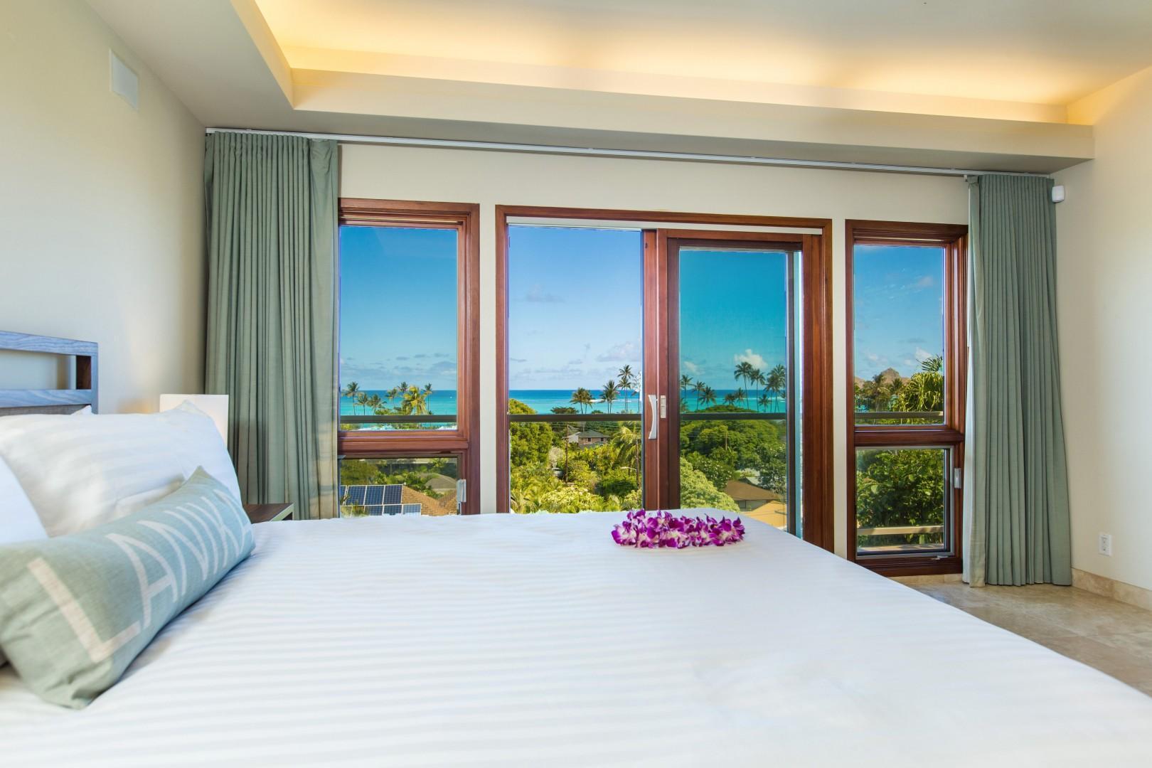 Second floor master bedroom with ocean views.