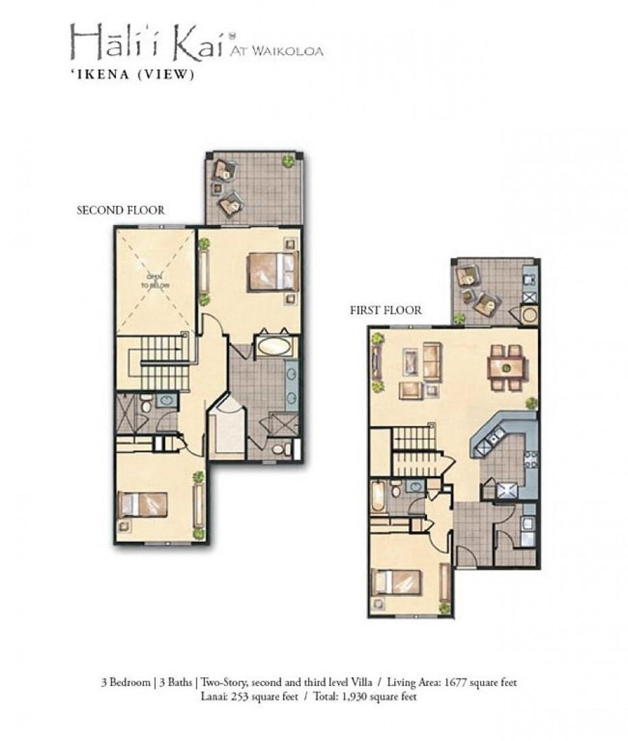 Hali'i Kai 12G floor plan.