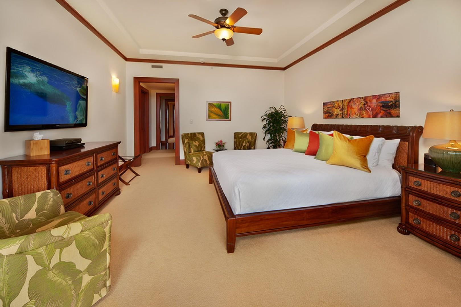 Sea Mist Villa 2403 - The Oceanview King Size Master Bedroom is Tastefully Decorated with a Pillow Top Mattress, Top-quality Linens, Velvet Lined Drapery, Carpet, Hardwood furnishings, iPod dock, HD Television & HD Cable, HD CD/DVD Player, Walk-in closet,