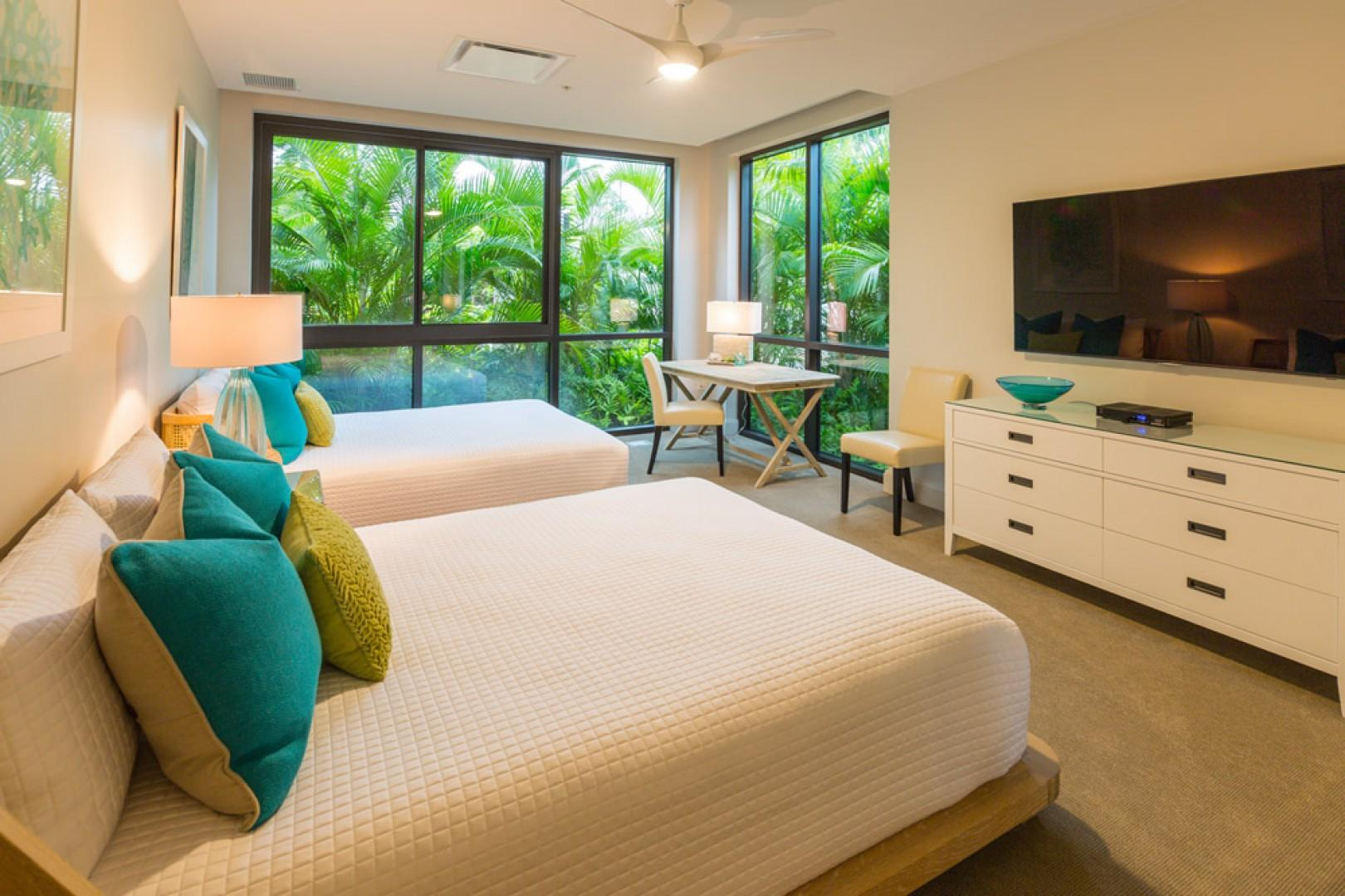 SeaGlass Villa 810 at Andaz Maui Wailea Resort - Third Bedroom Suite with Tropical Floral Garden Views, Large Flat Panel HDTV with Netflix, Two Queen Beds and En-Suite Private Bath
