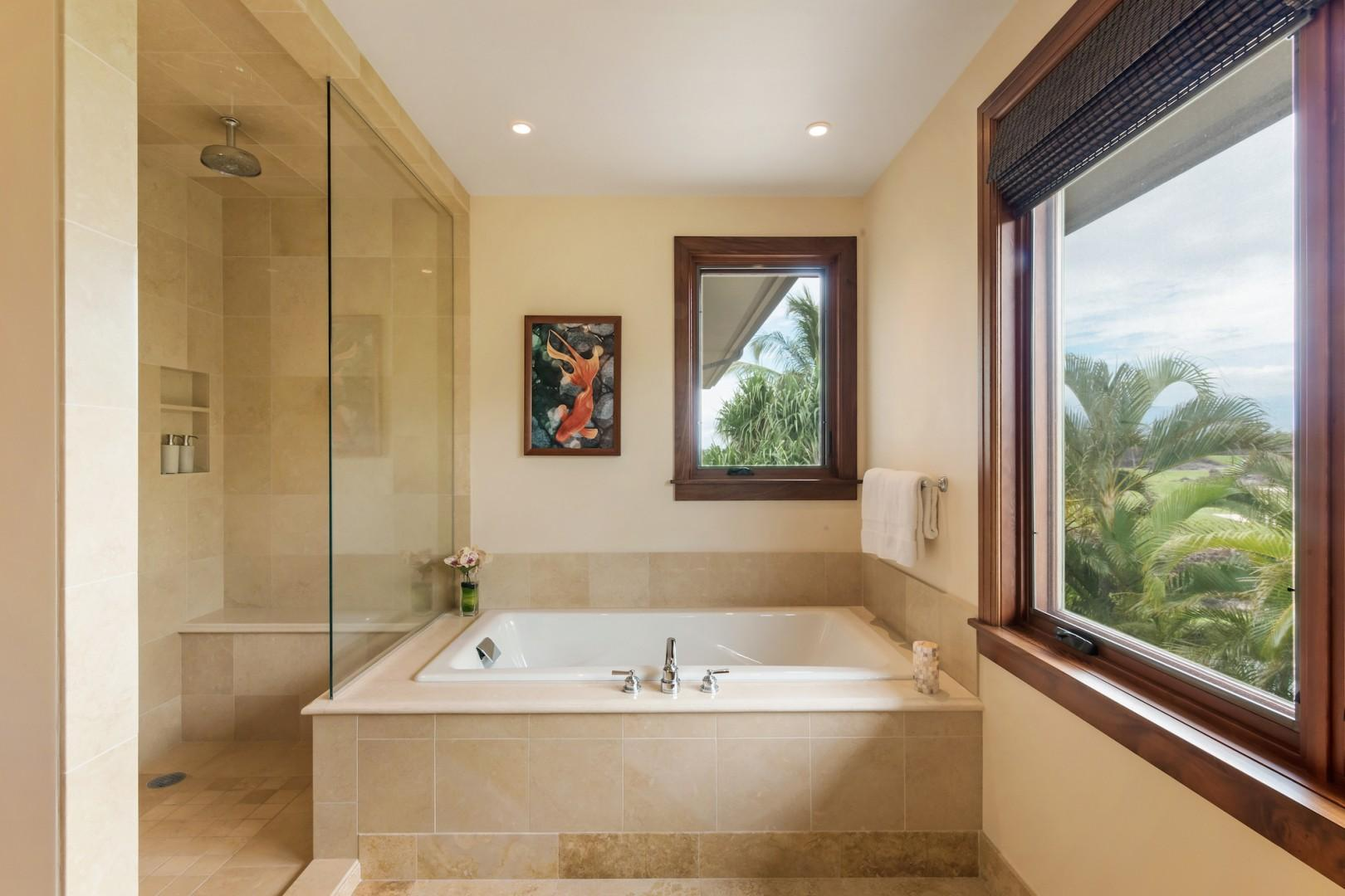 Upstairs Master Ensuite Bath w/ Glass Shower, Luxurious Soaking Tub & Picture Window.