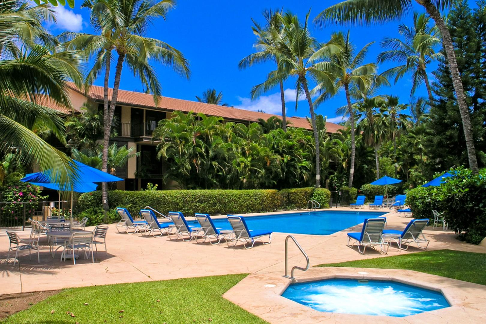 One of Two Large Gated and Heated Swimming Pools and Hot Tubs at Makena Surf Resort.