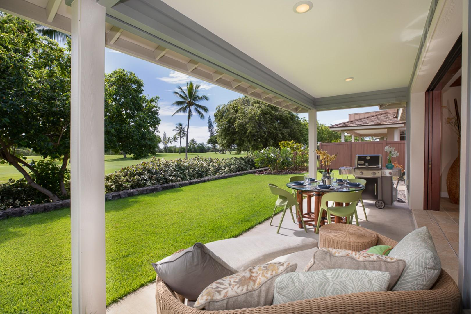 Private lanai with Gas BBQ Grill