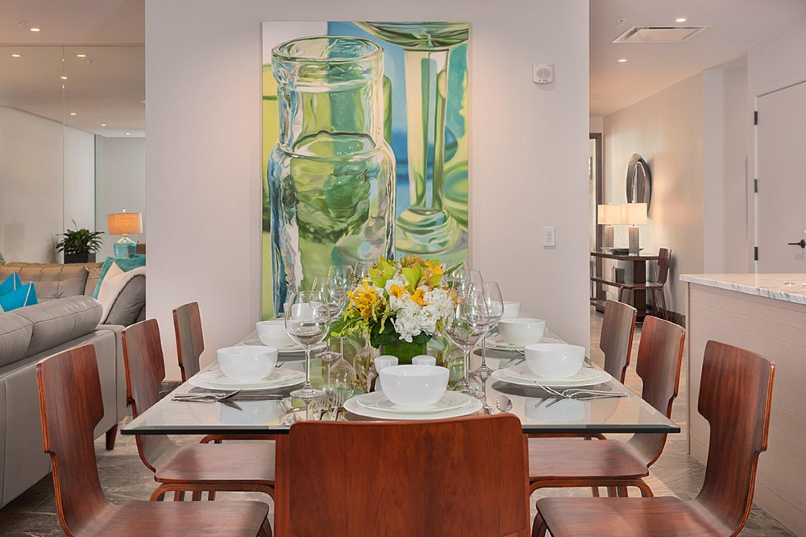 SeaGlass Villa 810 at Andaz Maui Wailea Resort - Spacious Indoor Dining for Eight with Contemporary Decor and Bold Artwork