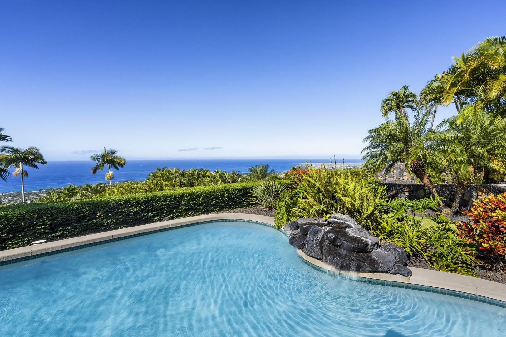 Enjoy the tranquil waterfall pool feature!