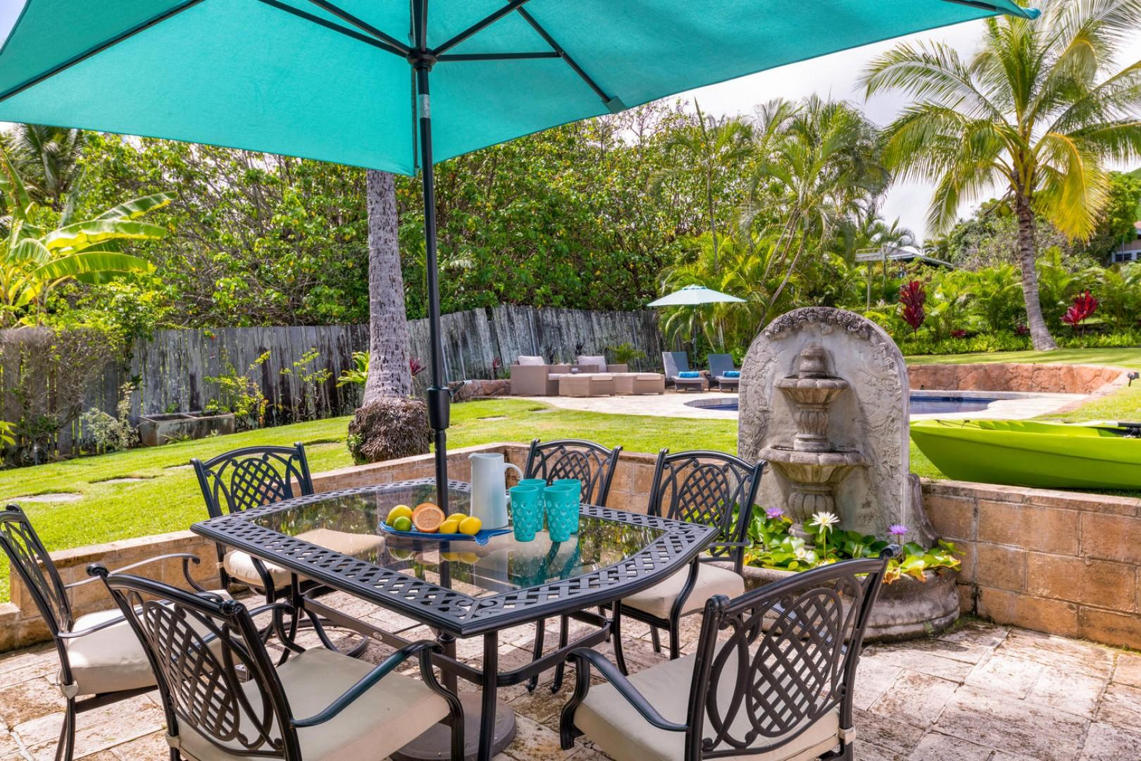 Outdoor entertaining area with extra-large yard!