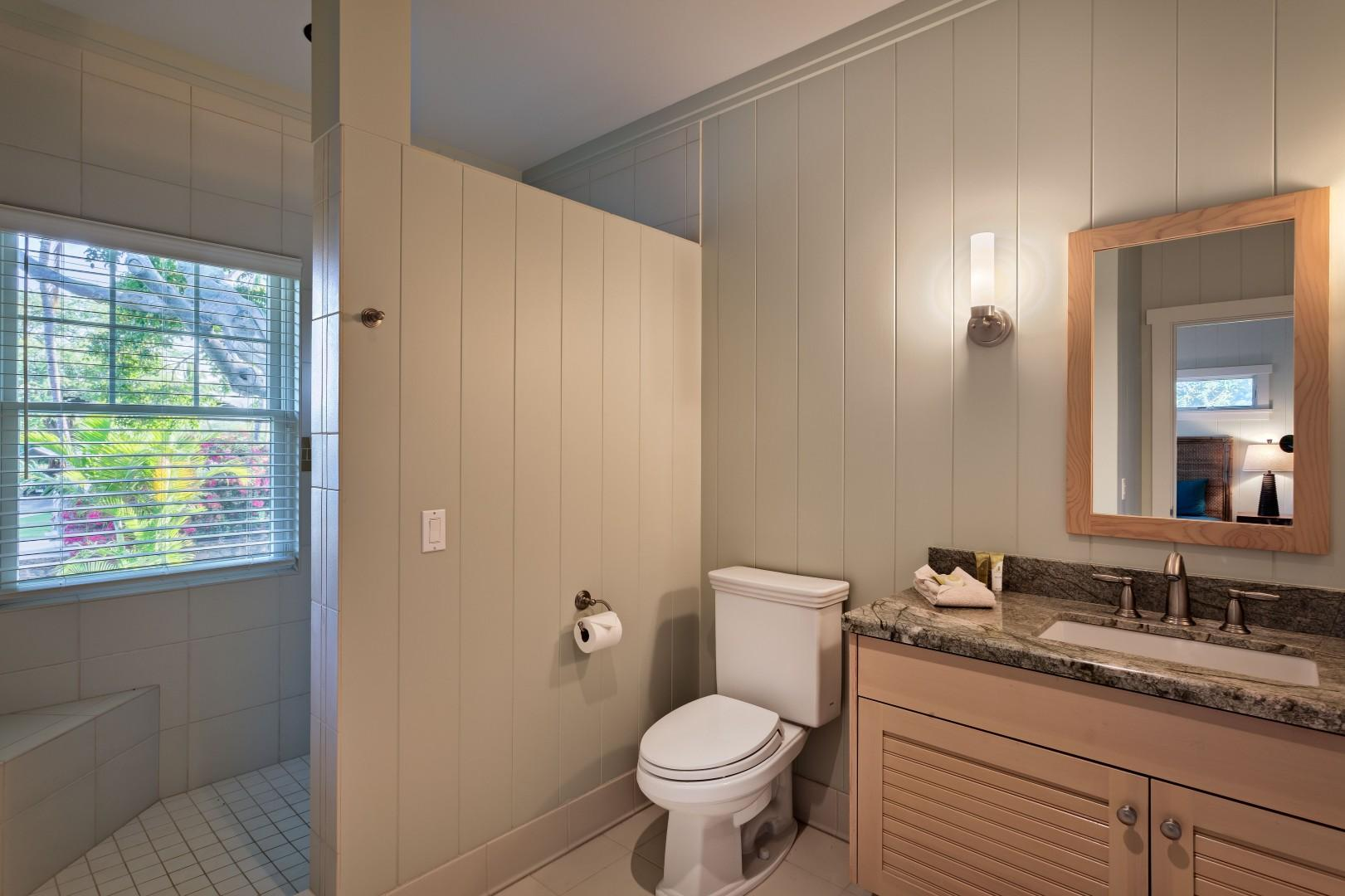 Ohana Guest Cottage Ensuite Bath w/ Spacious Tiled Shower w/ Two Shower Heads