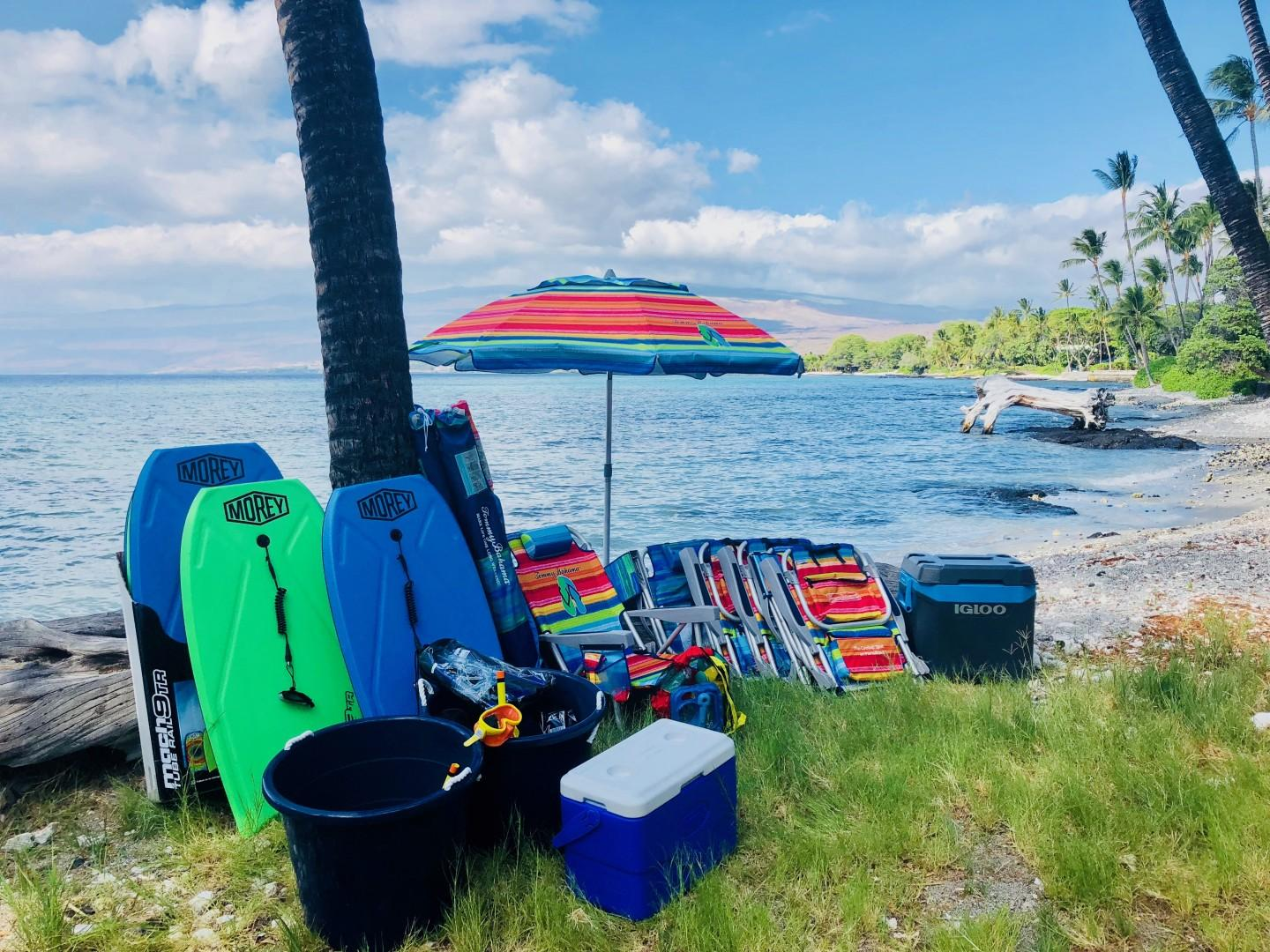 This property comes with a generous supply of beach amenities including snorkel gear, backpack beach chairs, umbrellas, boogie boards, coolers, snorkel gear for kids and adults!